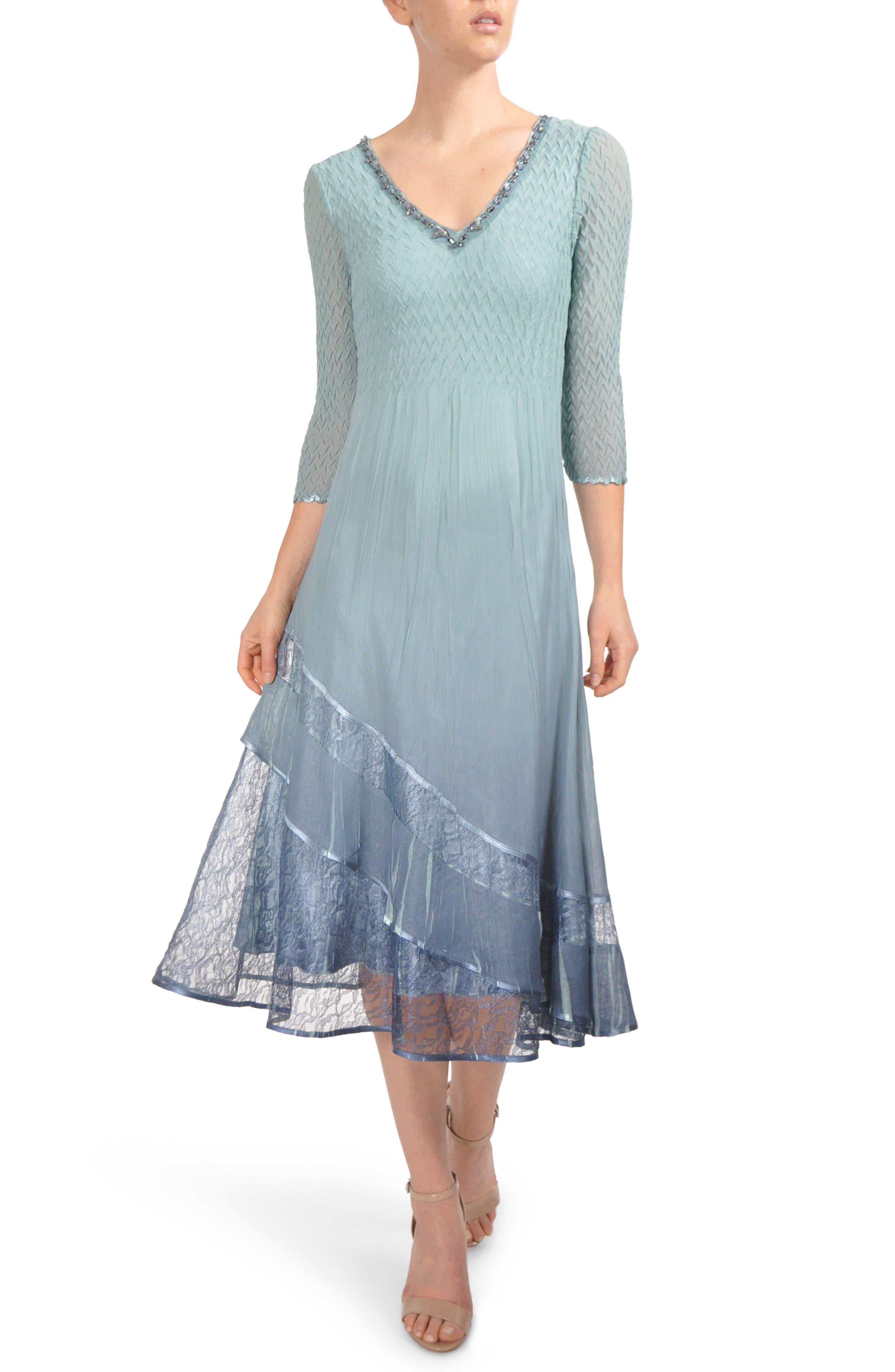 Beaded Neck Tier Hem Dress,                             Main thumbnail 1, color,                             Ocean Blue Night Ombre