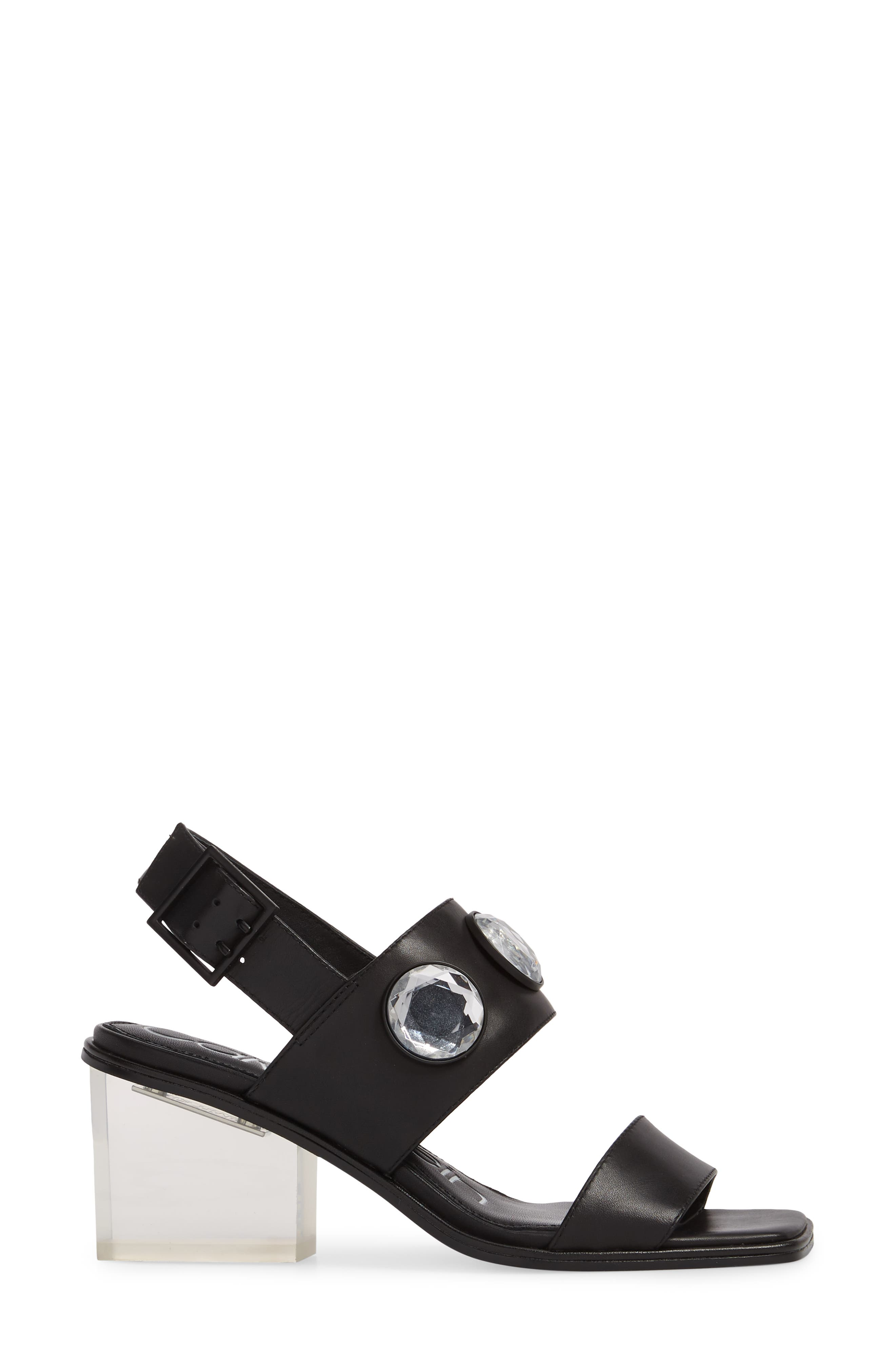 Kadyn Slingback Sandal,                             Alternate thumbnail 3, color,                             Black Leather