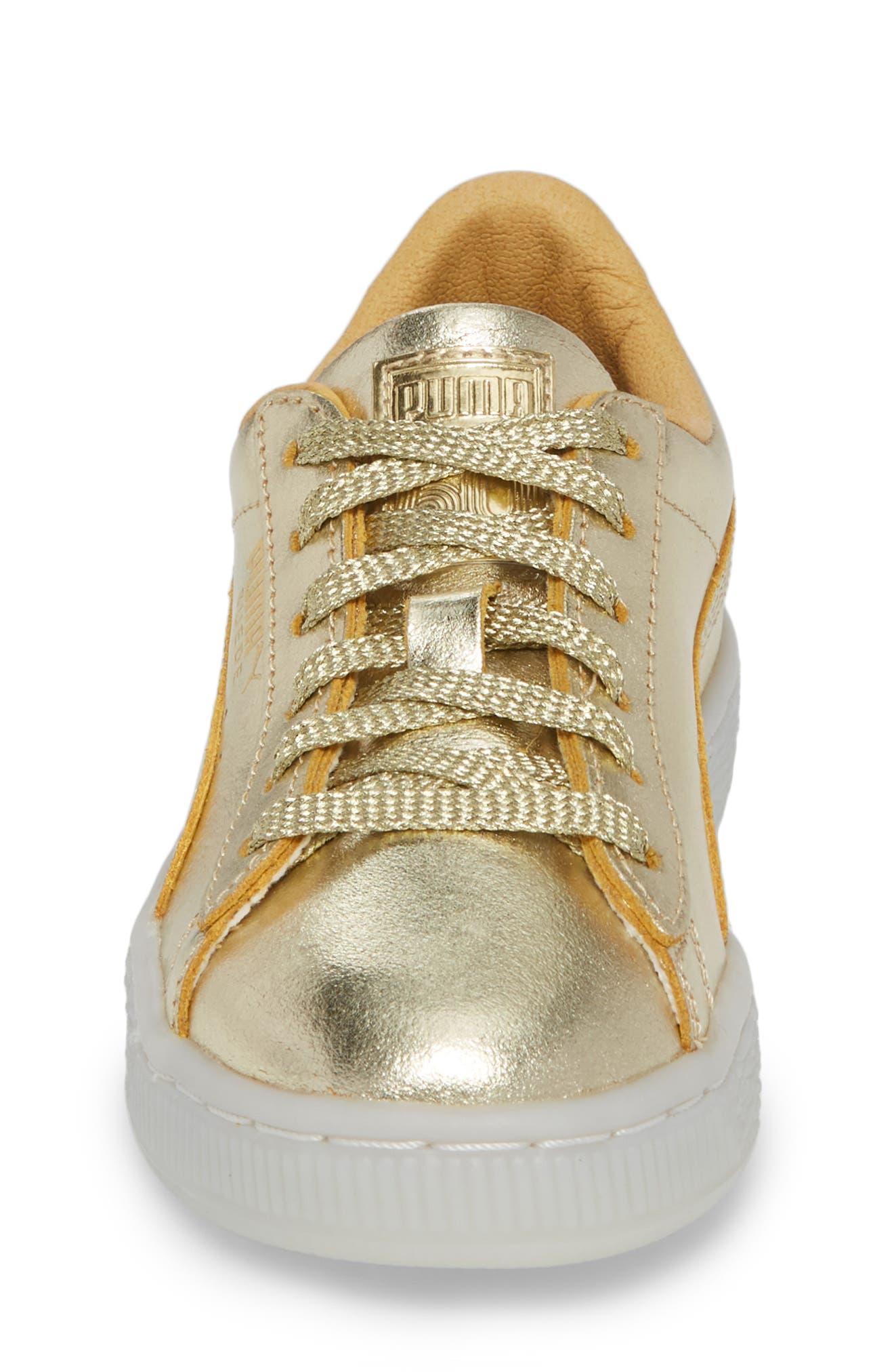 Suede 50th Anniversary Metallic Sneaker,                             Alternate thumbnail 4, color,                             Gold