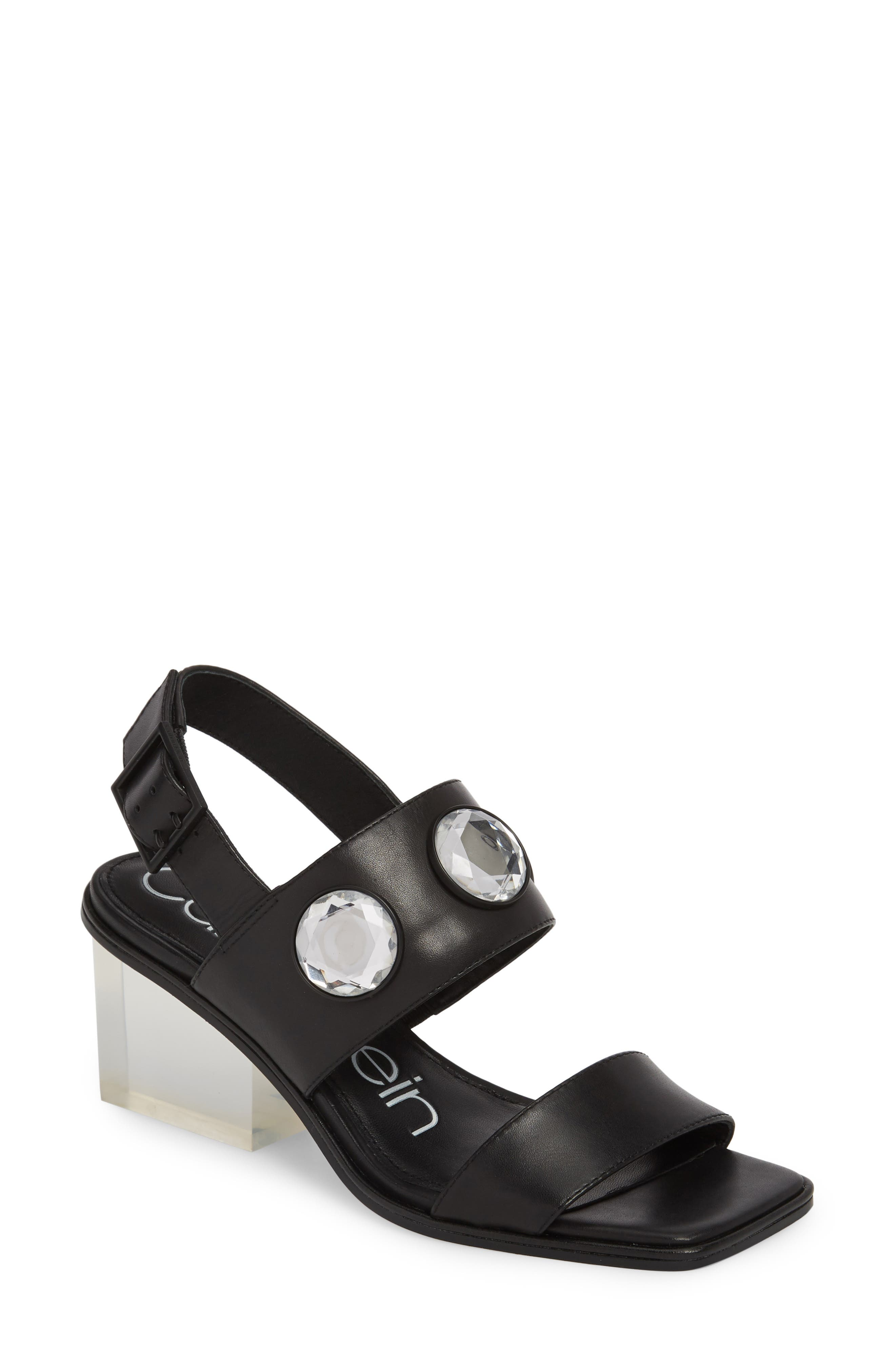 Kadyn Slingback Sandal,                         Main,                         color, Black Leather