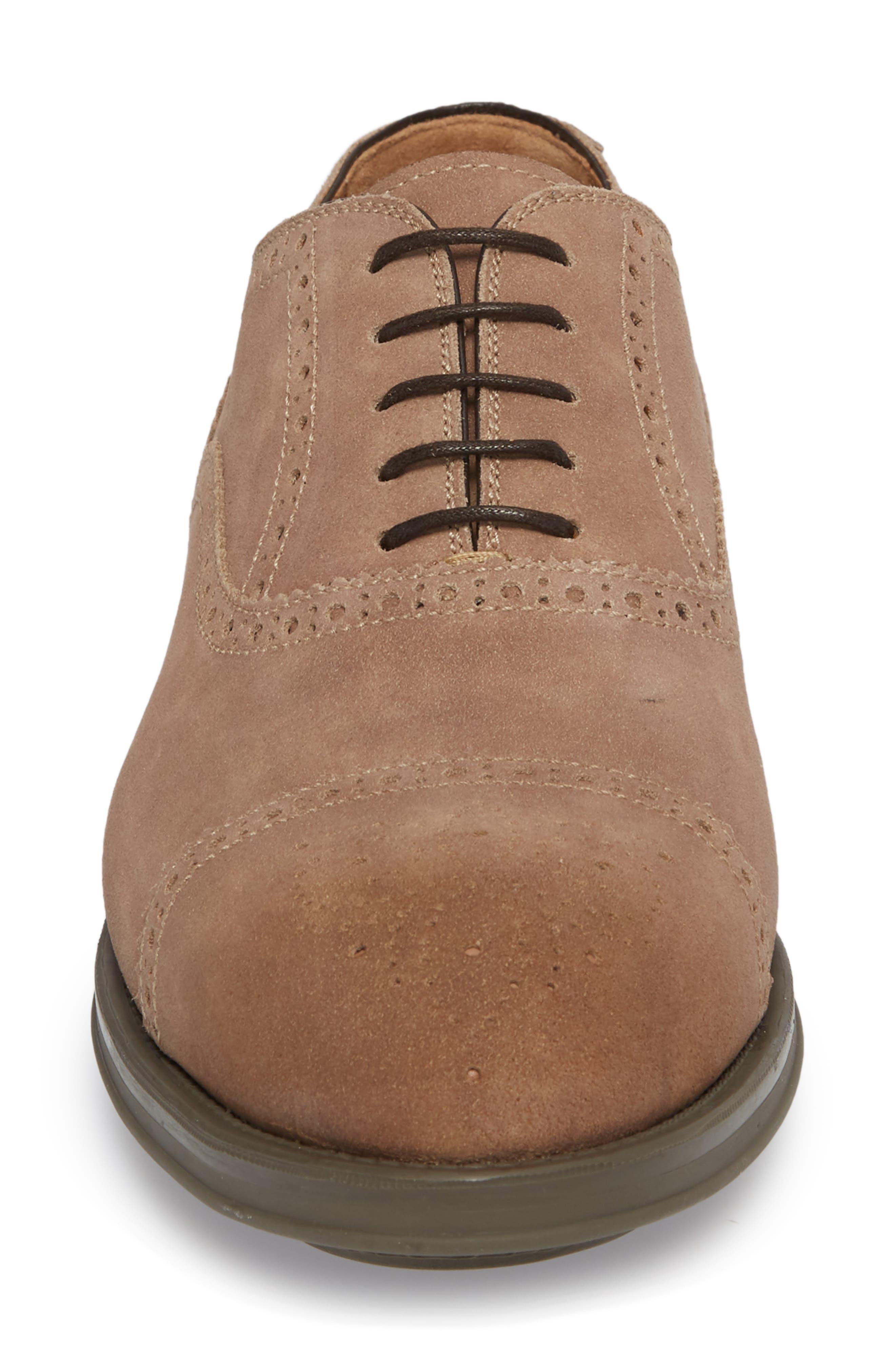 Winslo Cap Toe Oxford,                             Alternate thumbnail 4, color,                             Khaki Leather