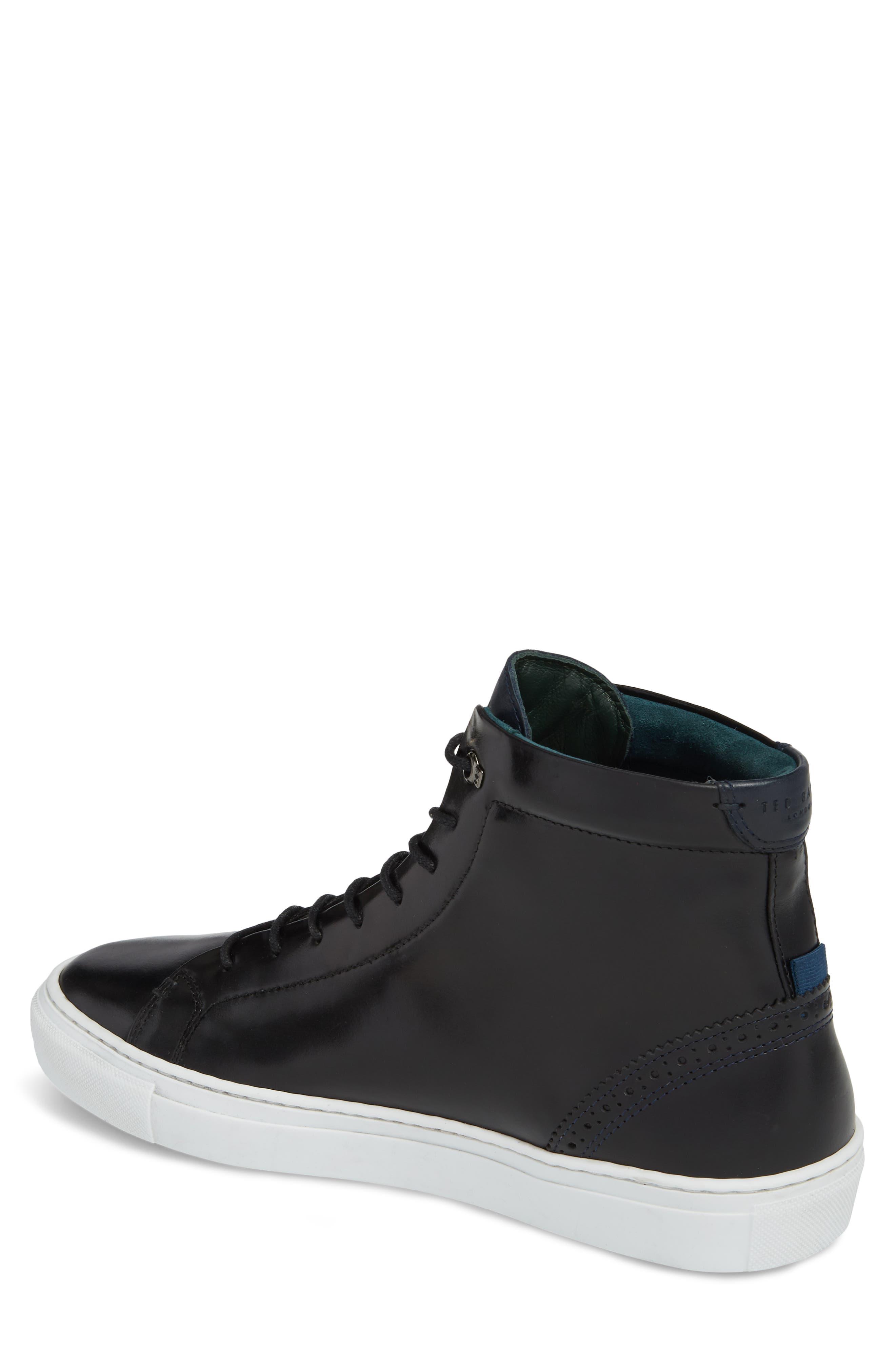 Monerkk High Top Sneaker,                             Alternate thumbnail 2, color,                             Black Leather