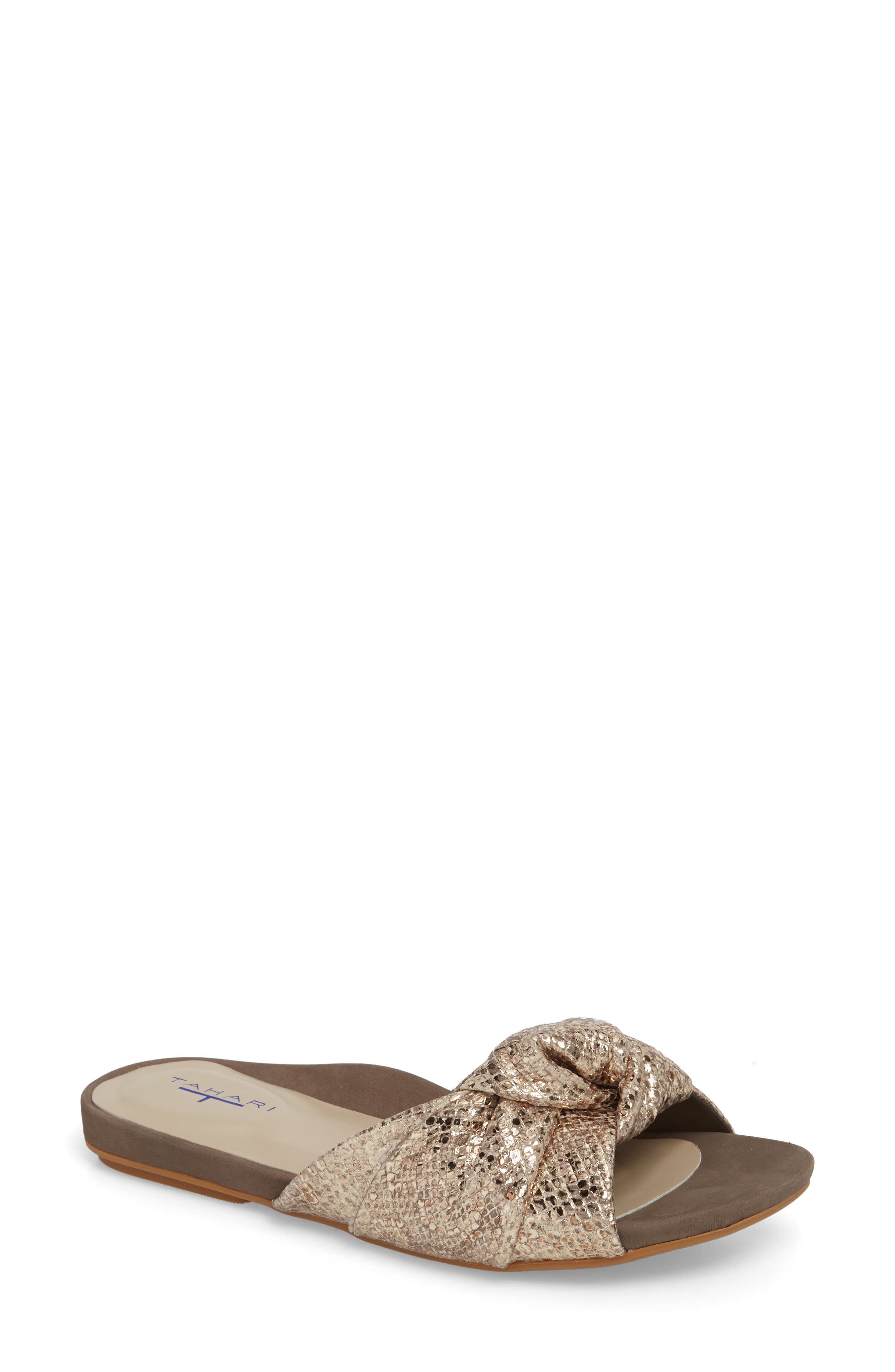 Lauren Slide Sandal,                             Main thumbnail 1, color,                             Taupe-Gold Suede