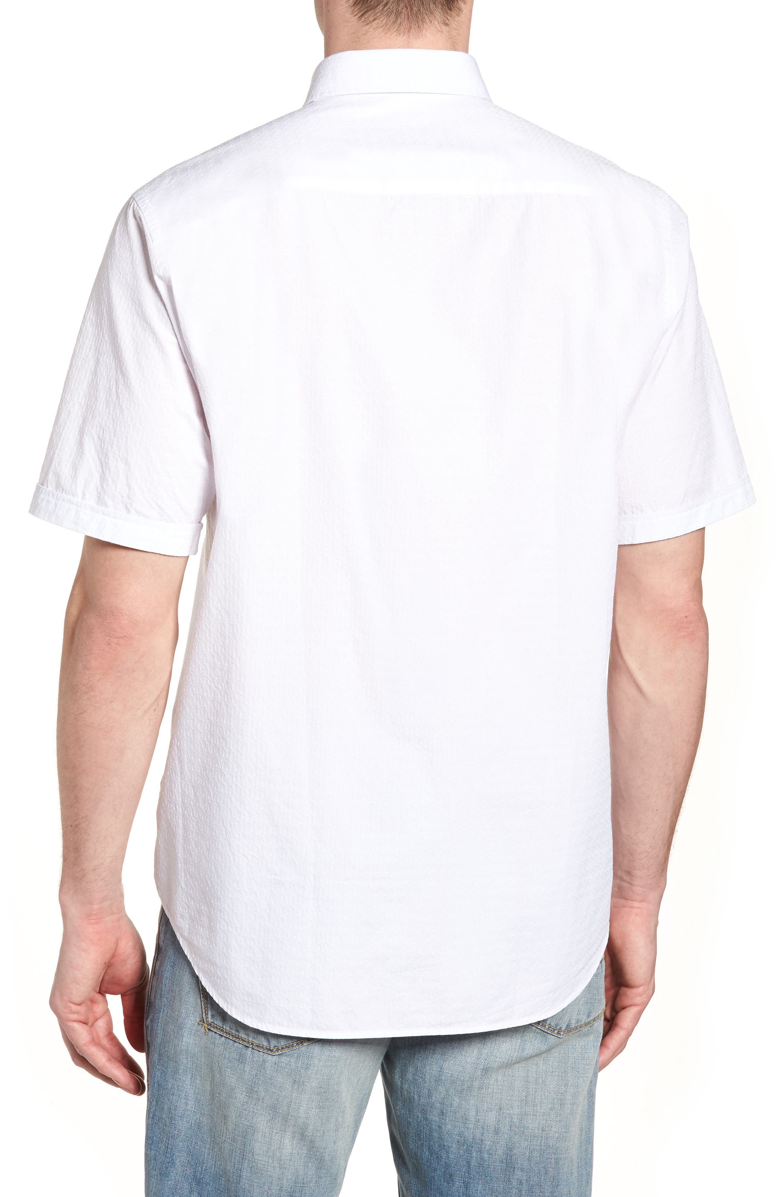 Classic Fit Textured Sport Shirt,                             Alternate thumbnail 2, color,                             White