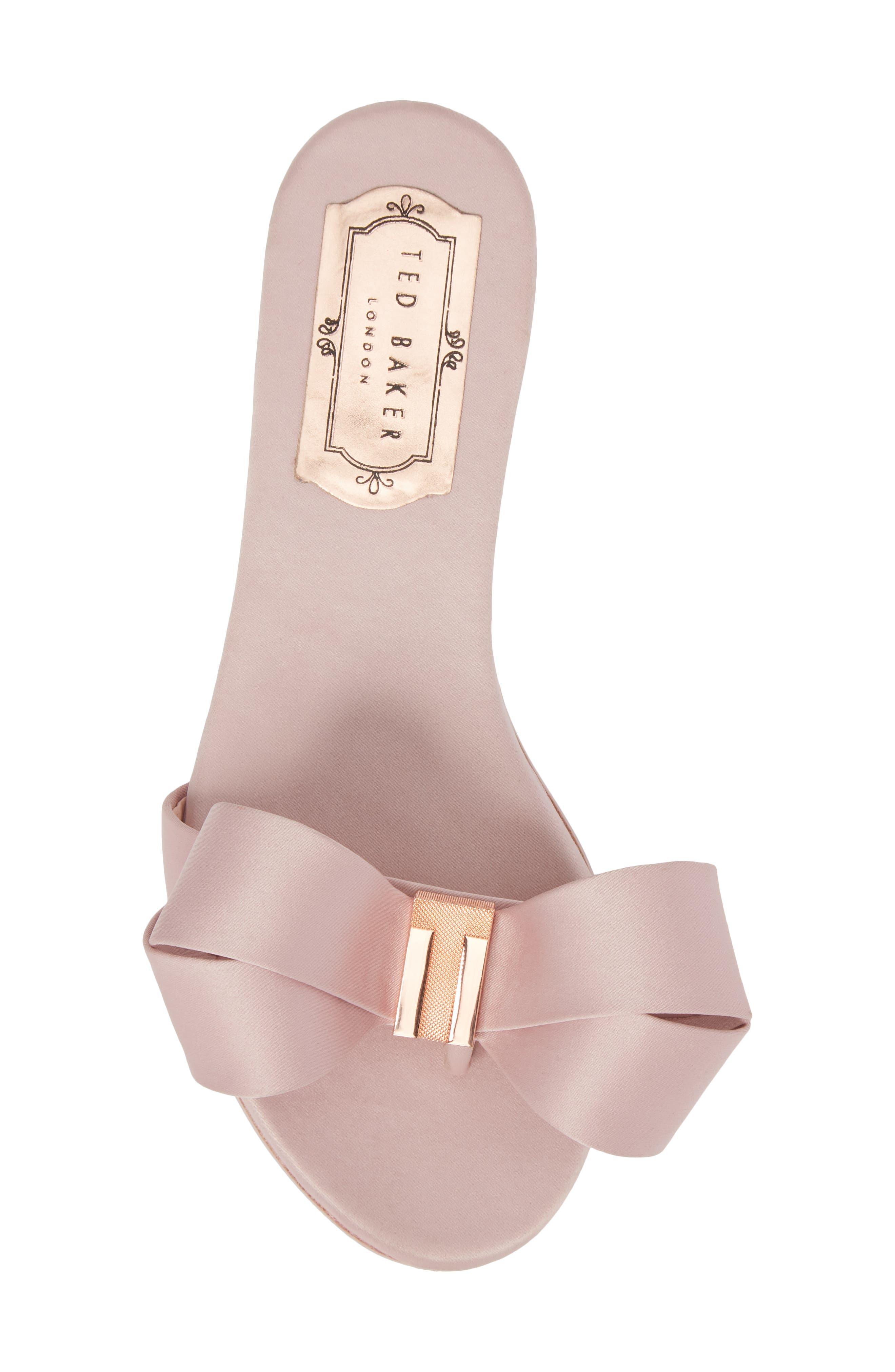 Slide Sandal,                             Alternate thumbnail 5, color,                             Light Pink Satin