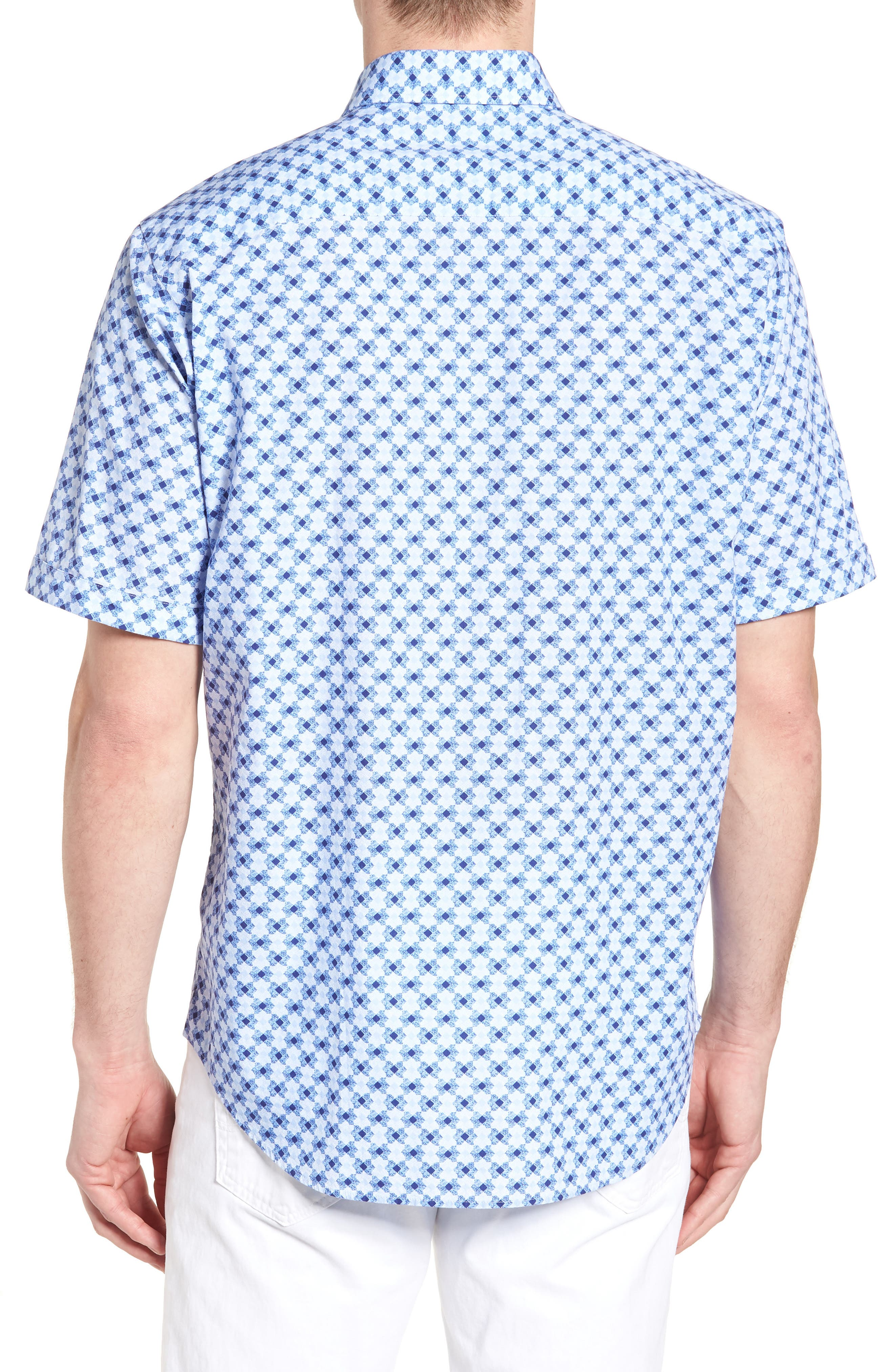 Classic Fit Geo Print Sport Shirt,                             Alternate thumbnail 2, color,                             Sky