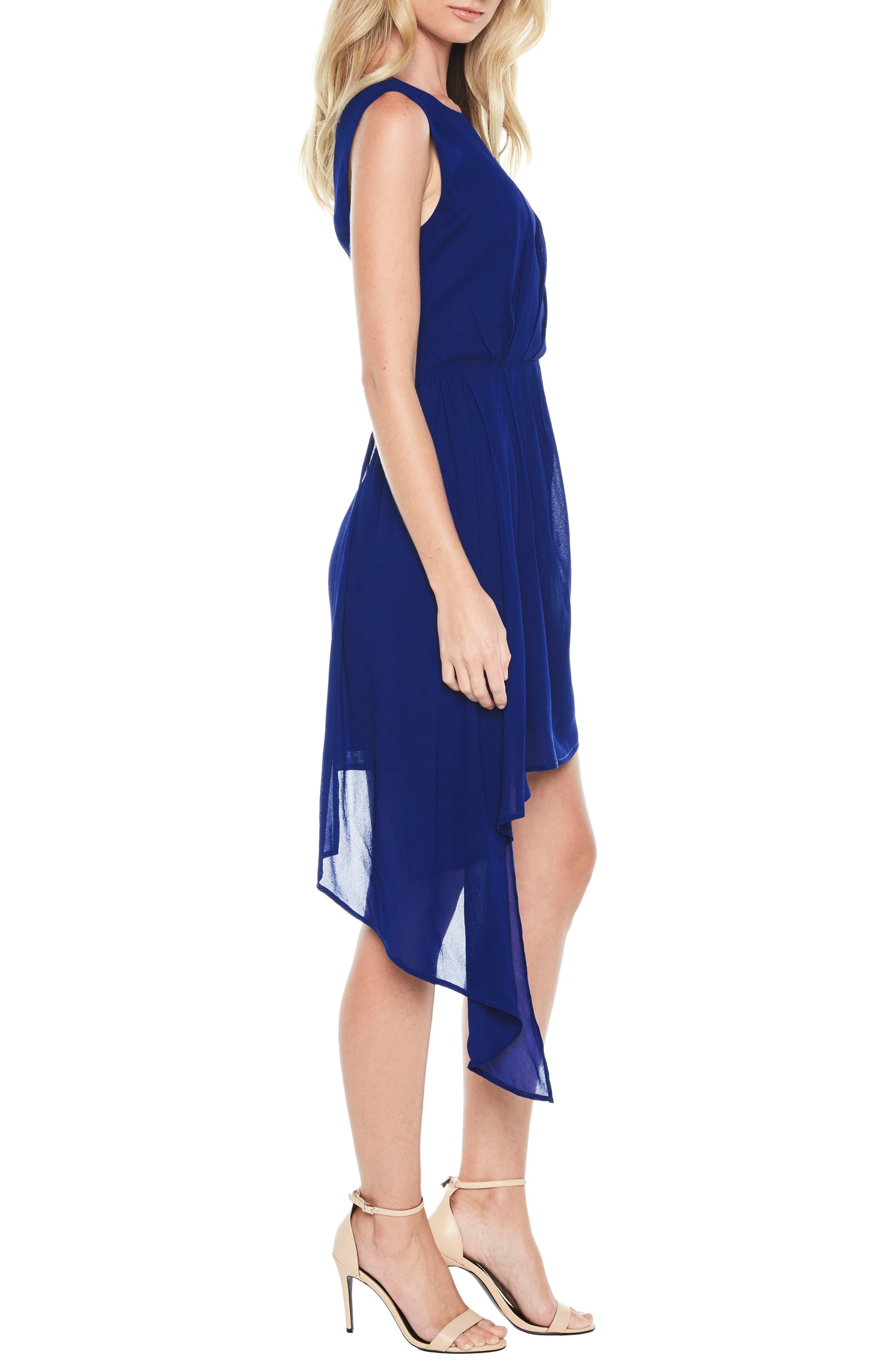 Stilla Asymmetric Hem Dress,                             Alternate thumbnail 3, color,                             Cobalt