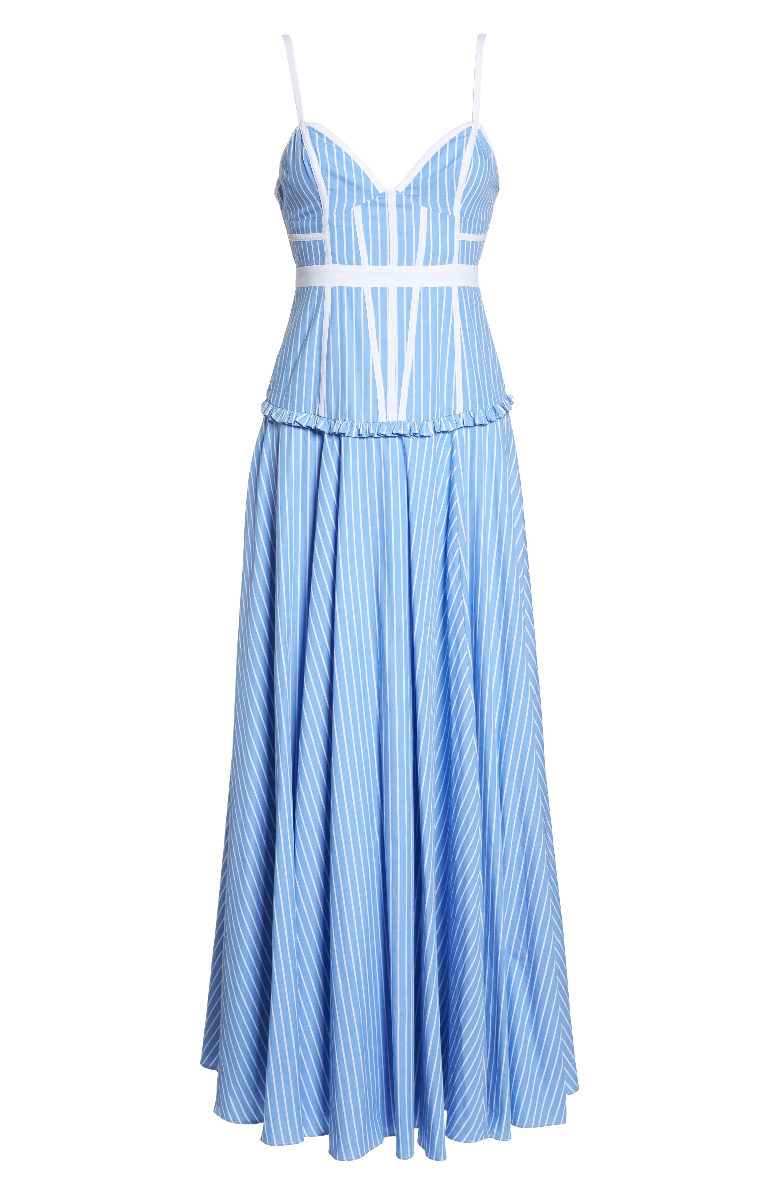 Morrow Stripe Corset Gown,                             Alternate thumbnail 7, color,                             Pale Blue/ White Stripe