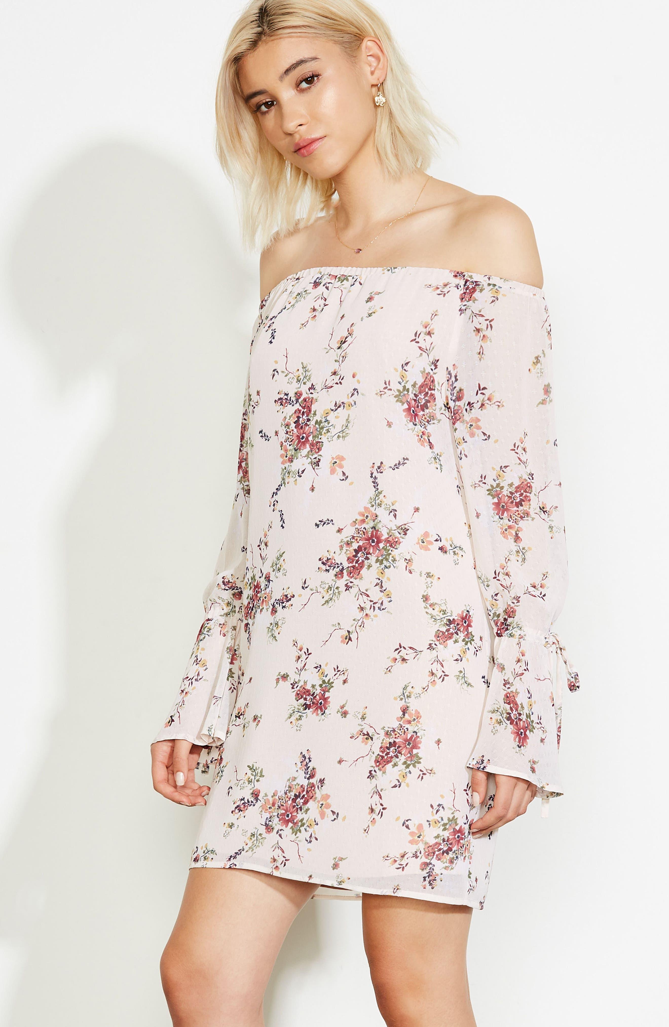 It's Love Floral Off the Shoulder Shift Dress,                             Alternate thumbnail 7, color,