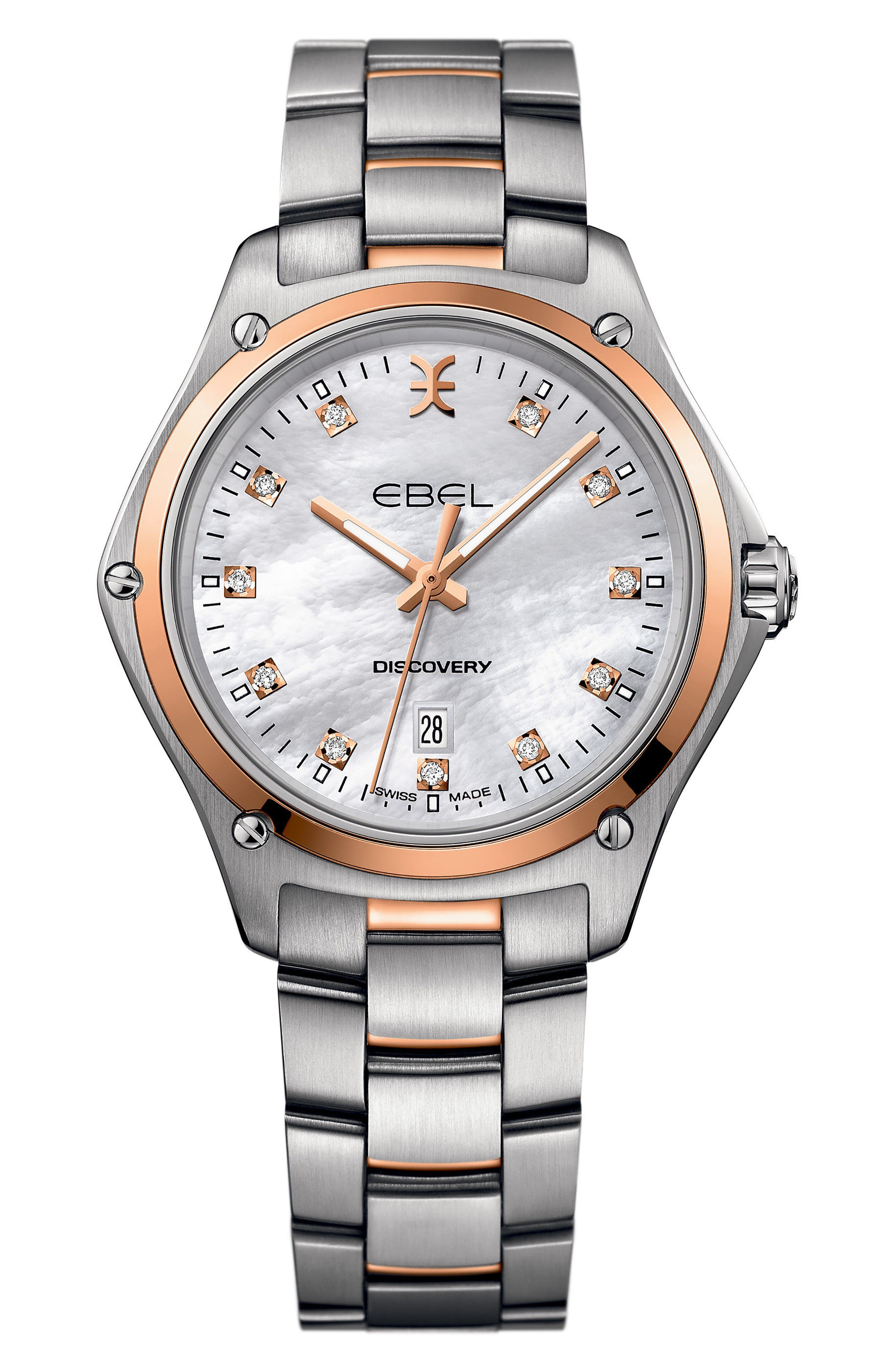 Discovery Diamond Bracelet Watch, 33mm,                             Main thumbnail 1, color,                             Silver/ Mop/ Rose Gold