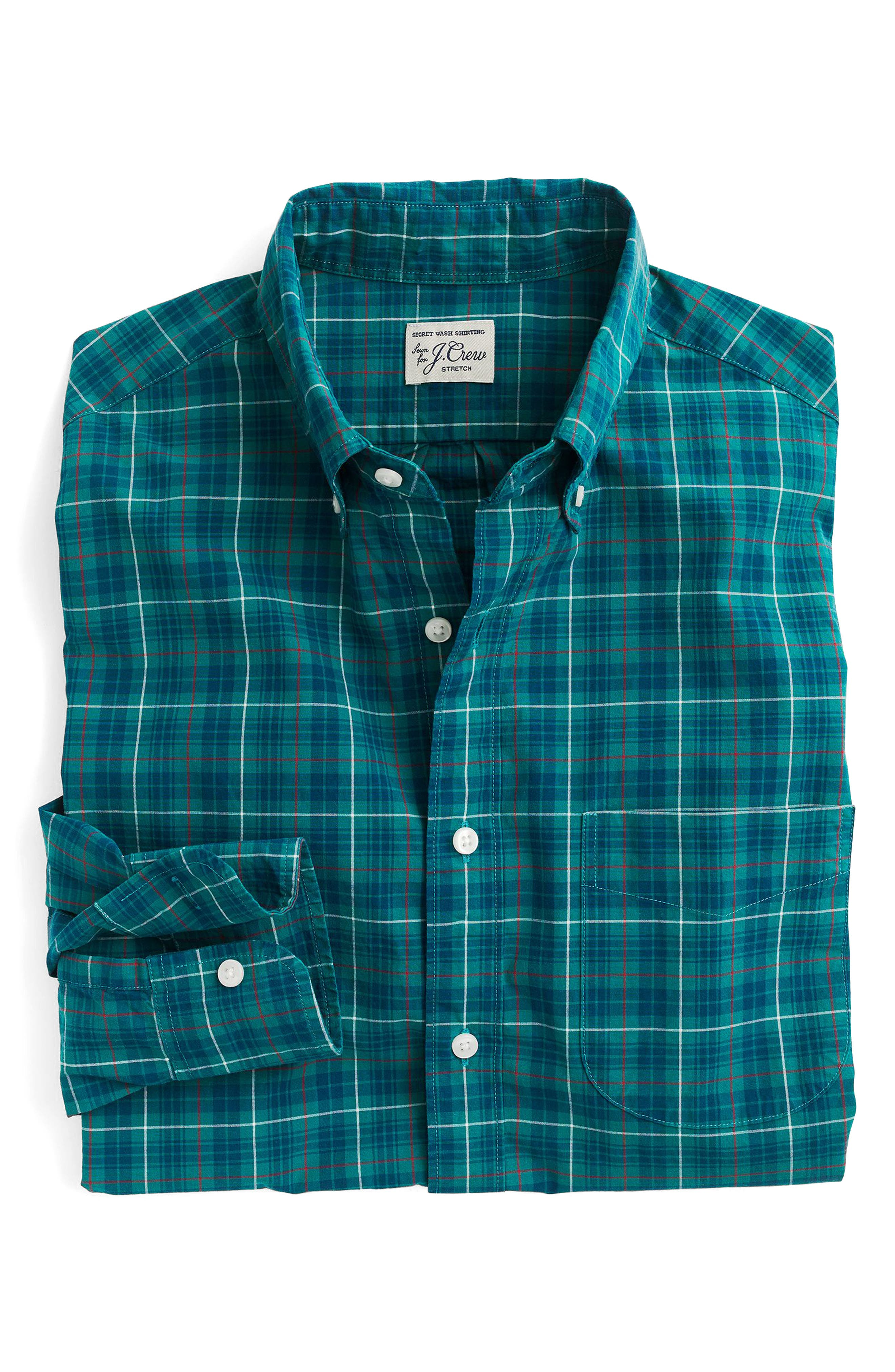 Alternate Image 3  - J.Crew Slim Fit Stretch Secret Wash Plaid Sport Shirt