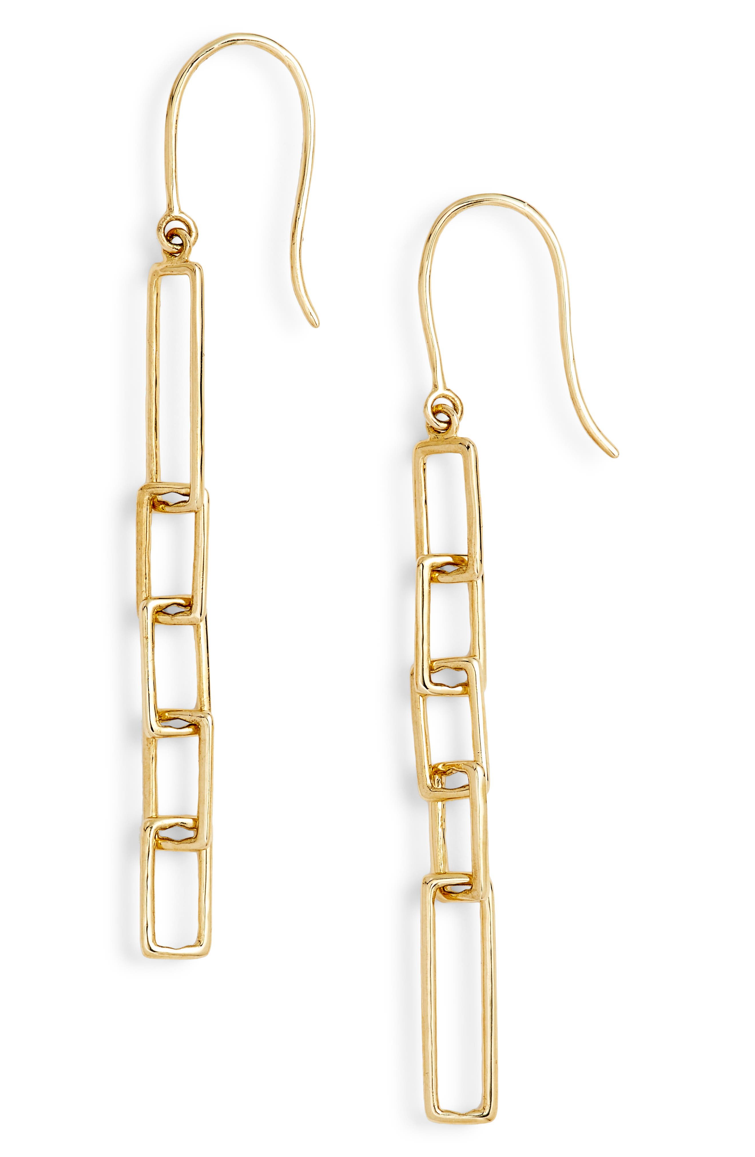 Linear Link Drop Earrings,                             Alternate thumbnail 3, color,                             Yellow Gold