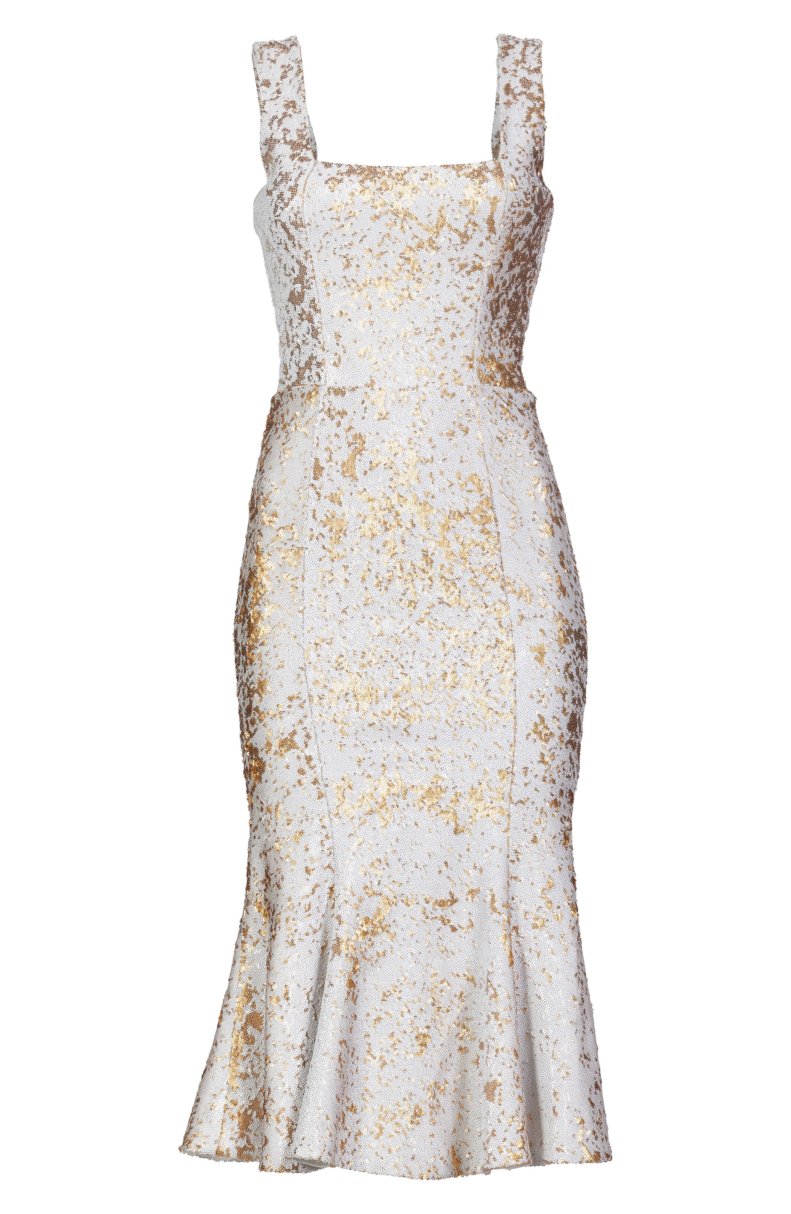Fiona Sequin Trumpet Dress,                             Alternate thumbnail 5, color,                             White/ Gold