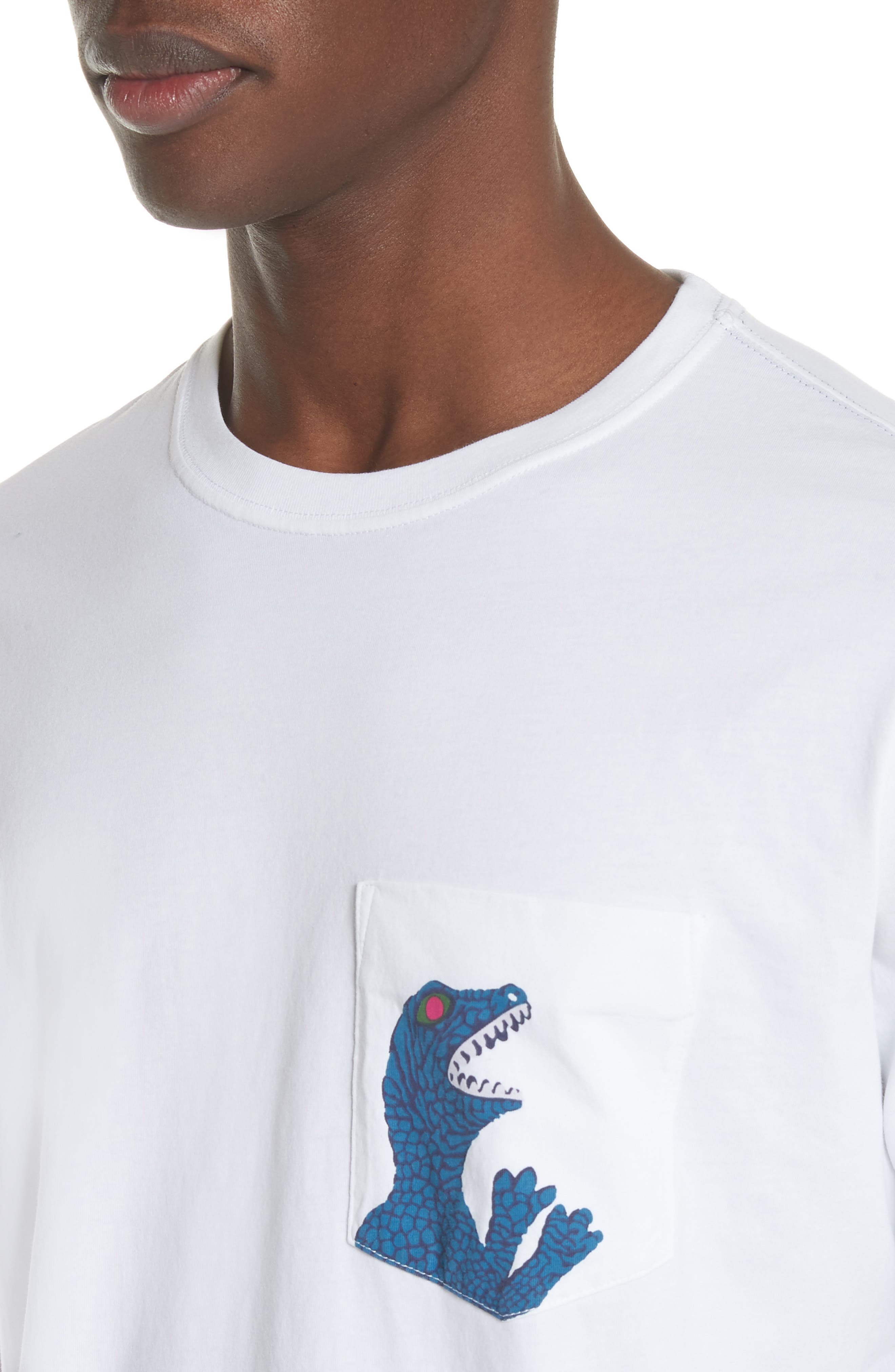 Dino Print Pocket T-Shirt,                             Alternate thumbnail 4, color,                             White