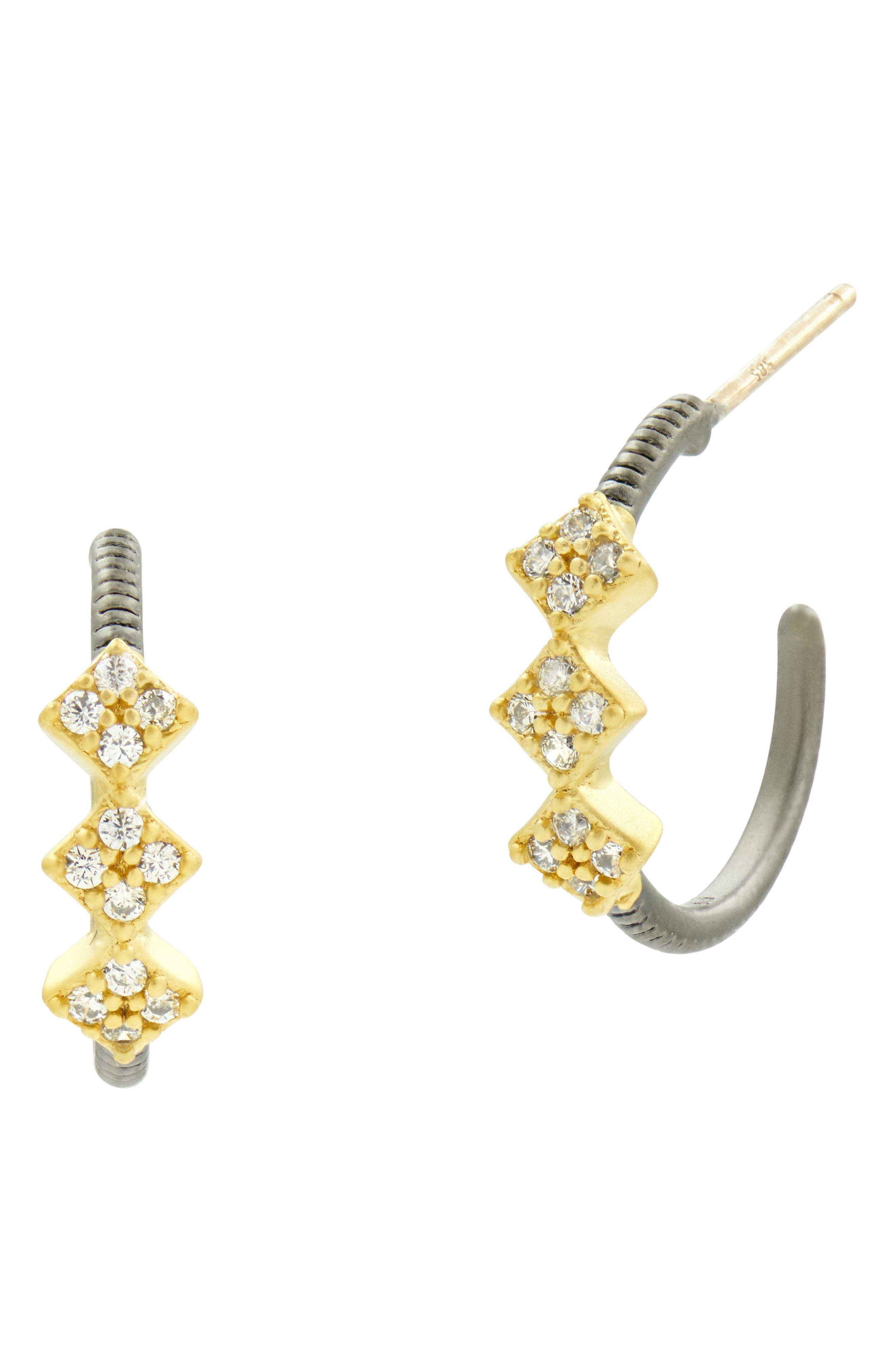 Rose Drop Hoop Earrings,                         Main,                         color, Black Rhodium/ Gold