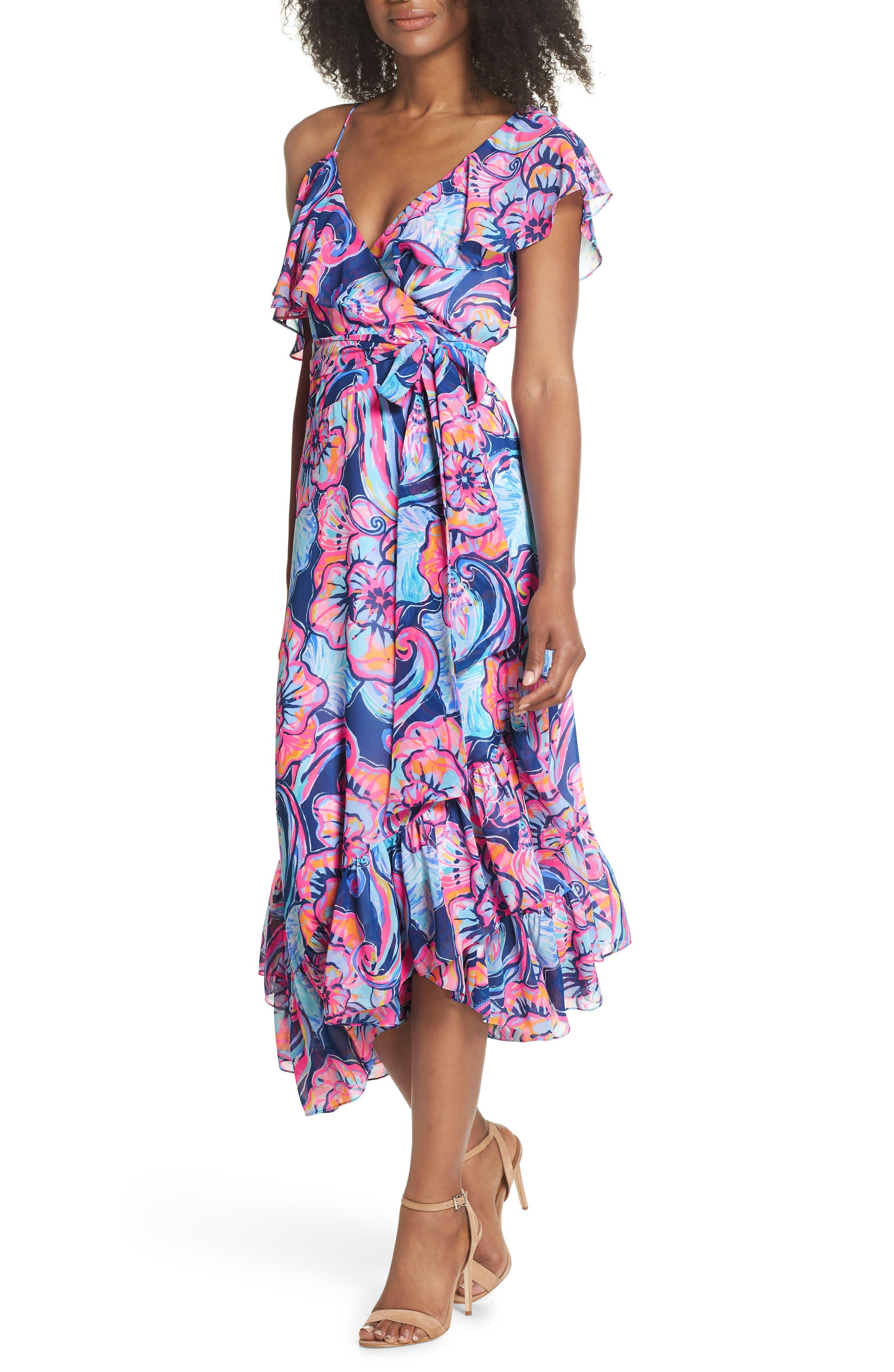 Marianna Asymmetric Midi Wrap Dress,                         Main,                         color, Nautical Navy