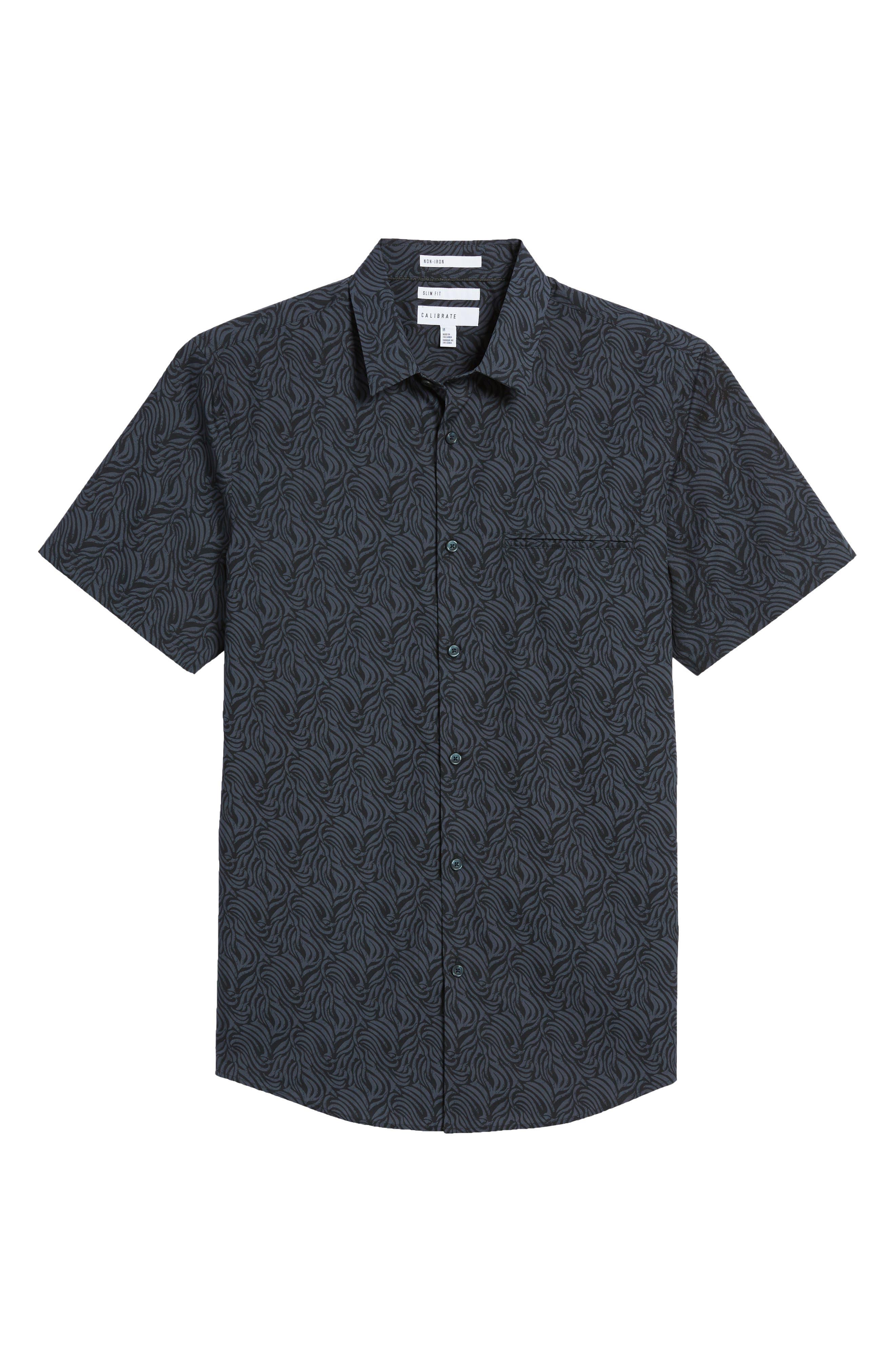 Trim Fit Print Welt Pocket Sport Shirt,                             Alternate thumbnail 6, color,                             Navy Blue Black Brush Stroke