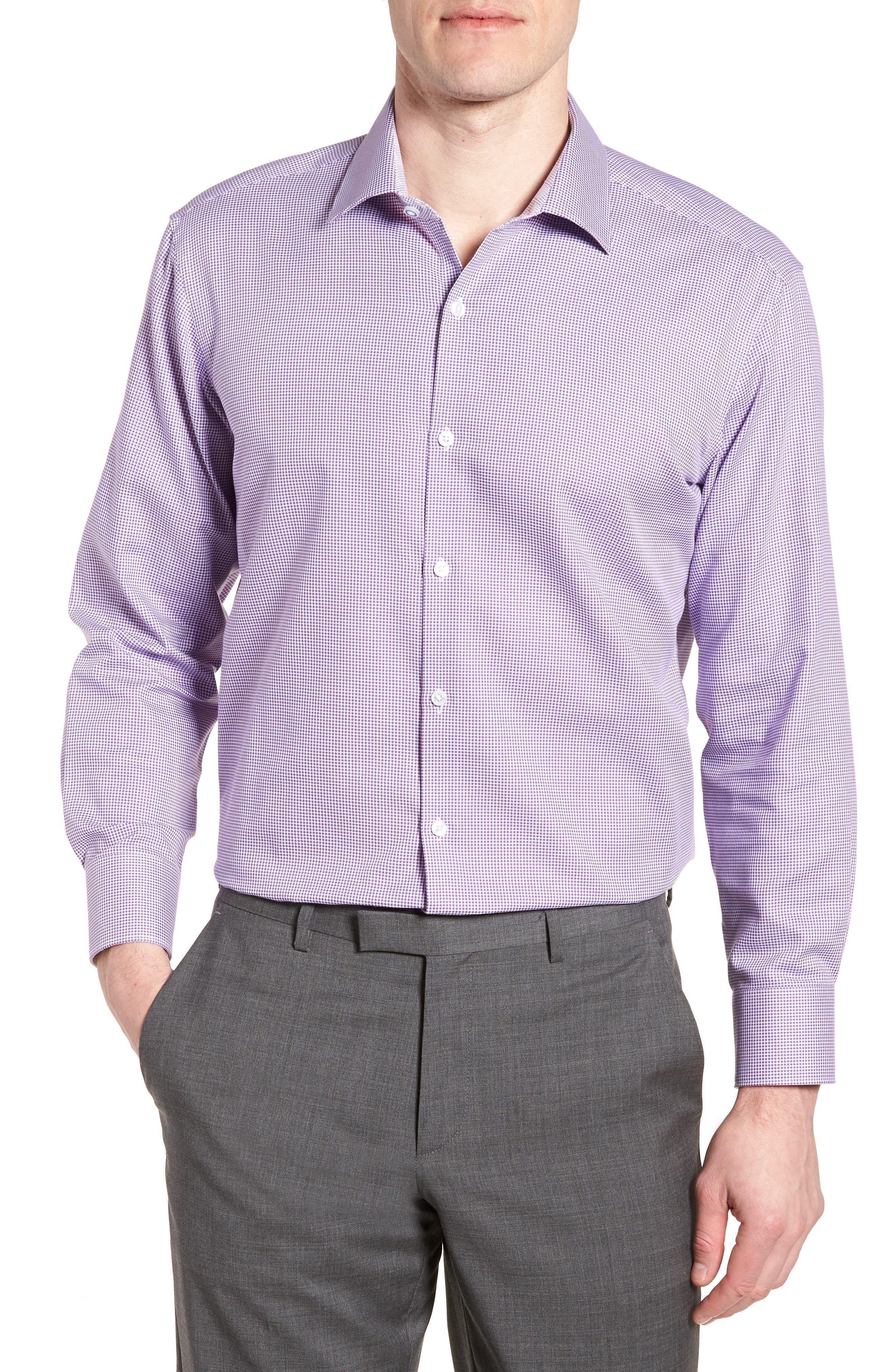 Hayden Trim Fit Check Dress Shirt,                             Main thumbnail 1, color,                             Purple