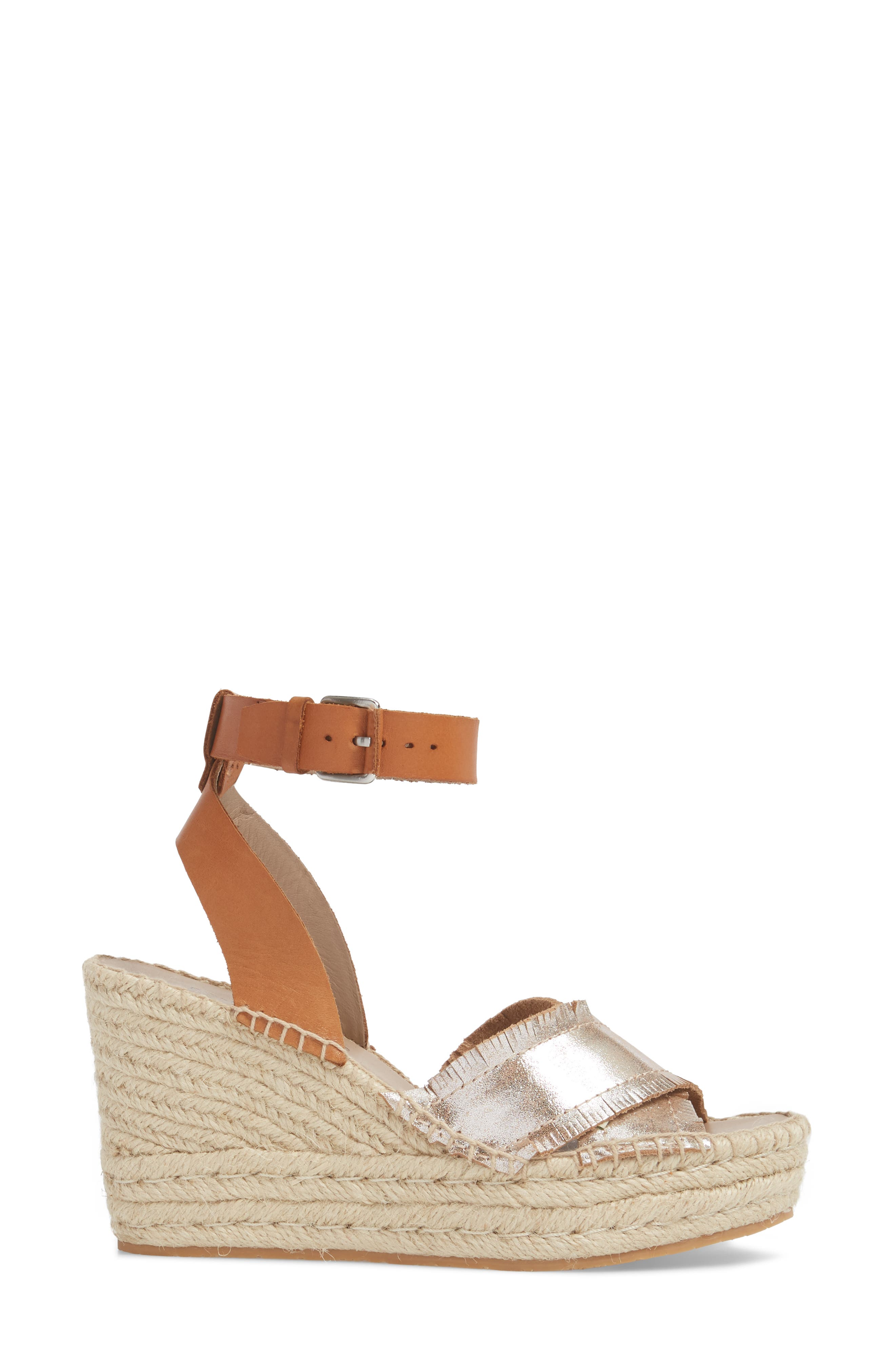 Ines Espadrille Wedge Sandal,                             Alternate thumbnail 3, color,                             Silver Leather