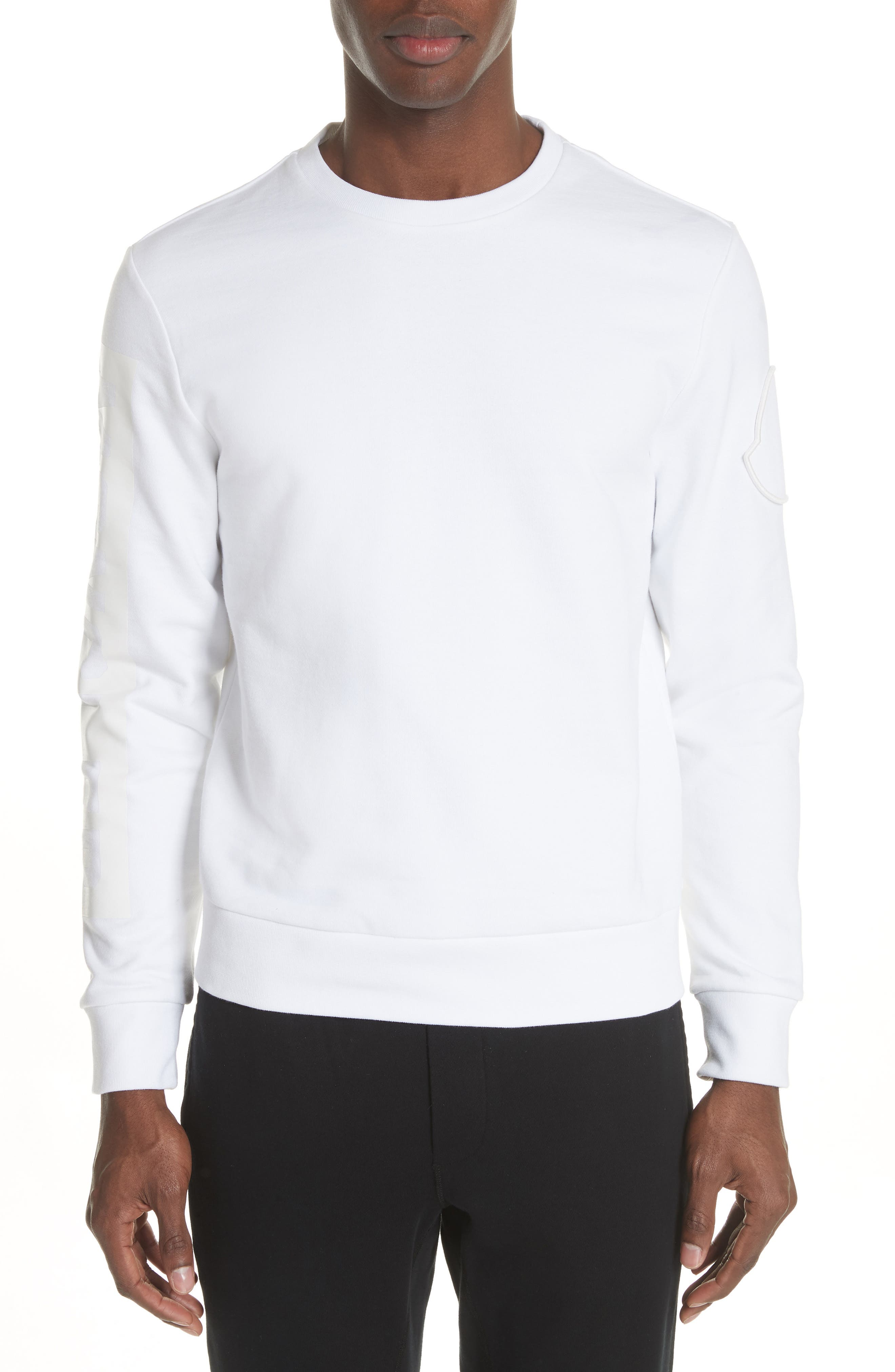 Logo Sleeve Sweatshirt,                         Main,                         color, White