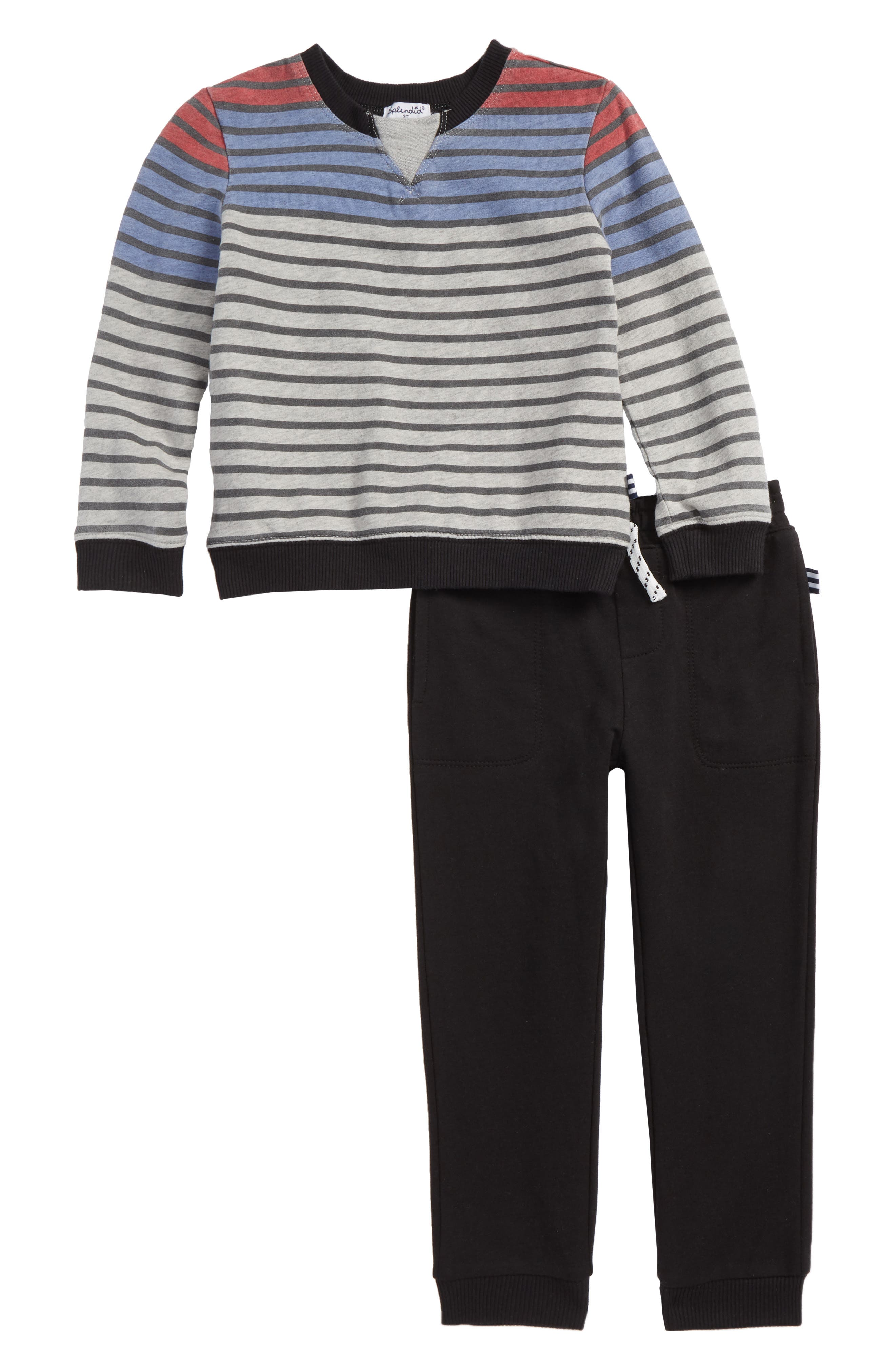 Stripe French Terry Sweatshirt & Pants Set,                             Main thumbnail 1, color,                             Light Heather Grey