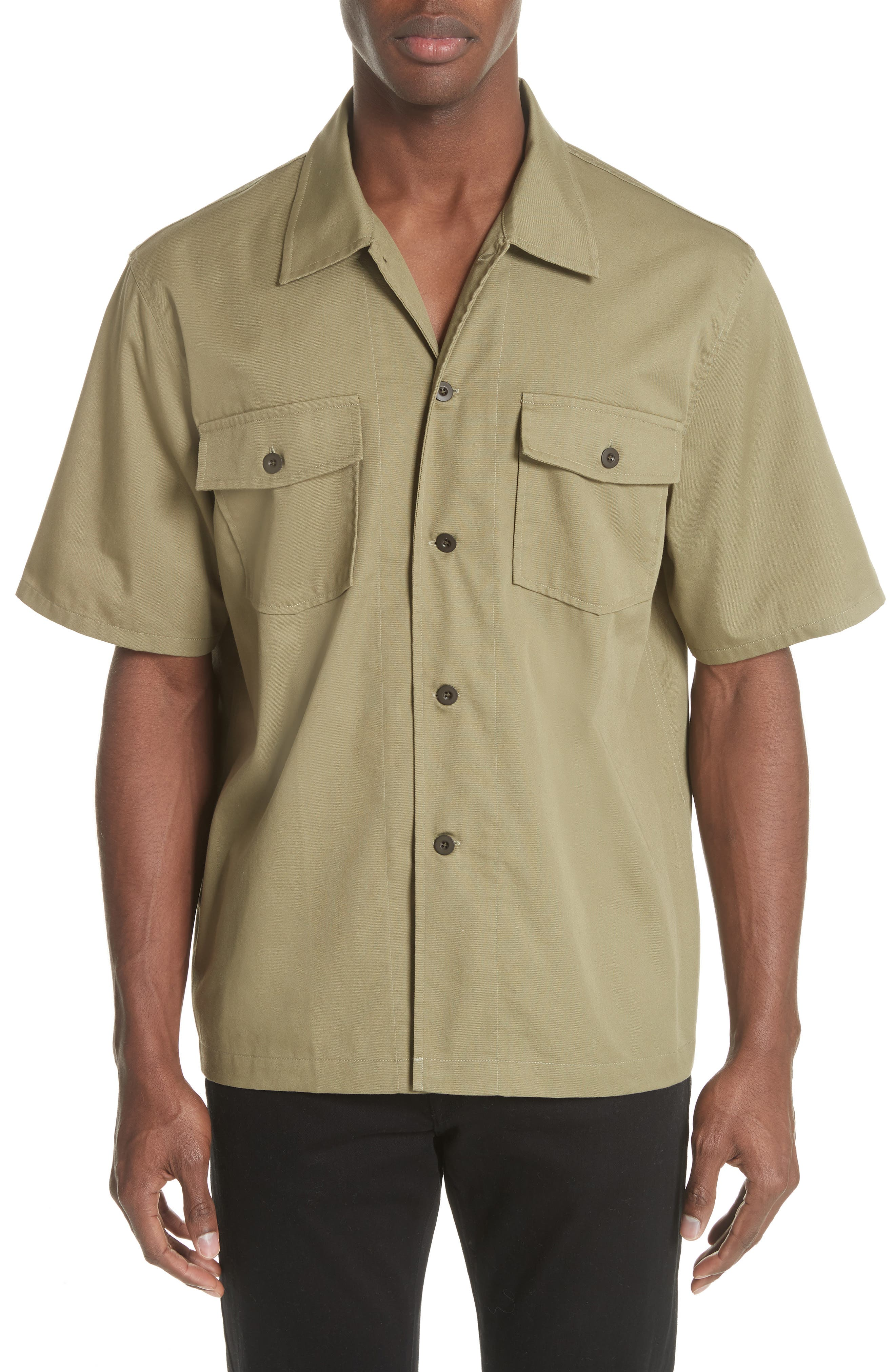 Double Pocket Woven Shirt,                         Main,                         color, Olive