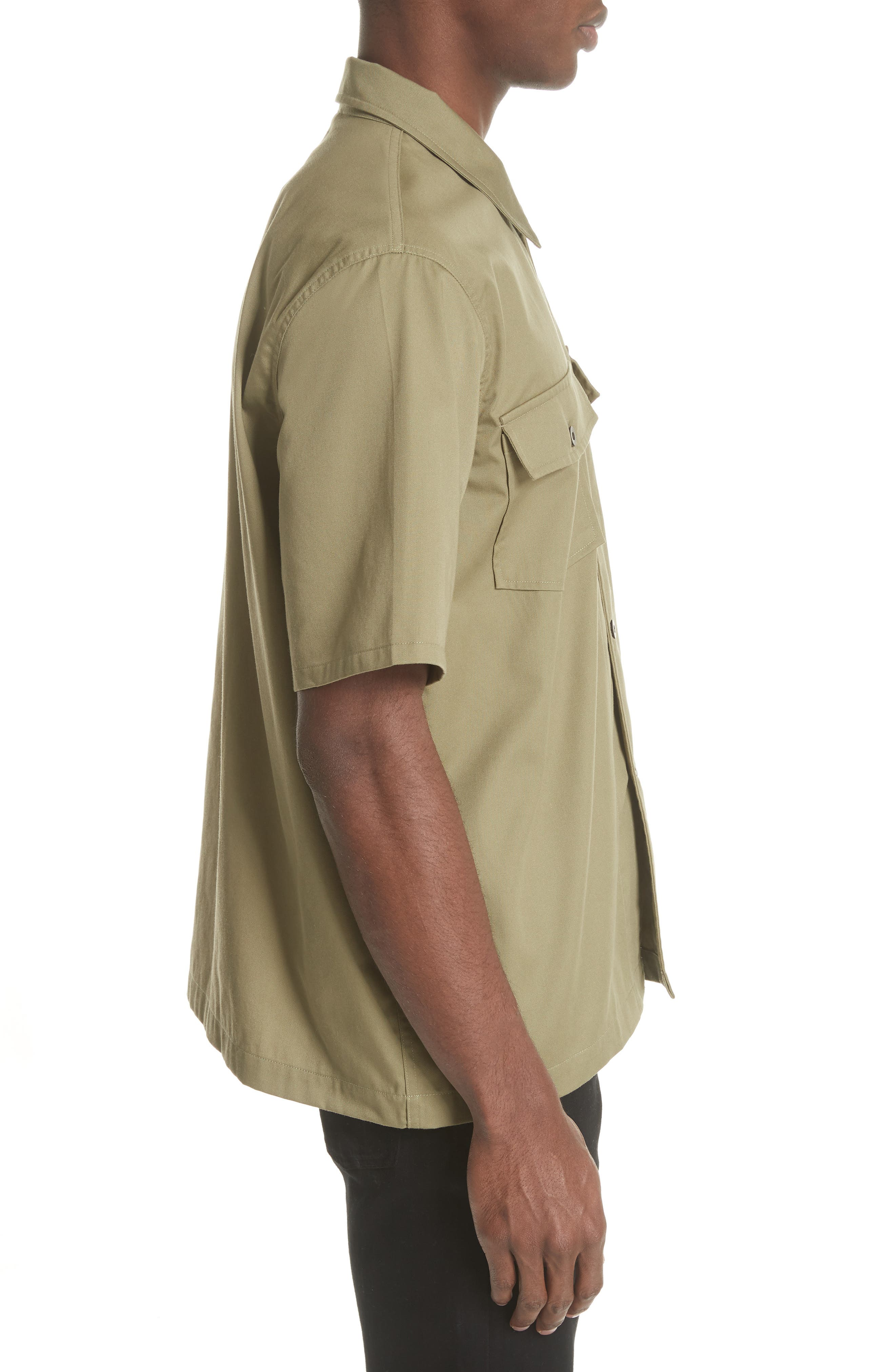 Double Pocket Woven Shirt,                             Alternate thumbnail 3, color,                             Olive
