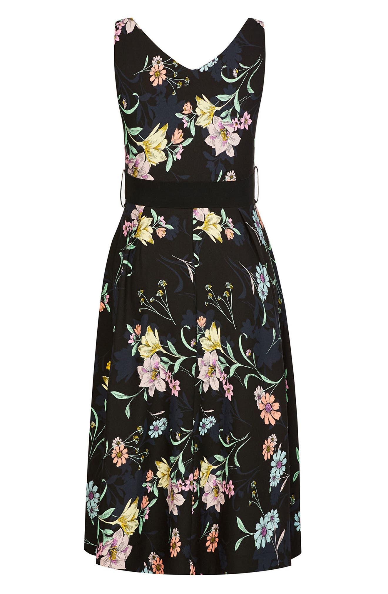 Sketch Love Floral A-Line Midi Dress,                             Alternate thumbnail 3, color,                             Black