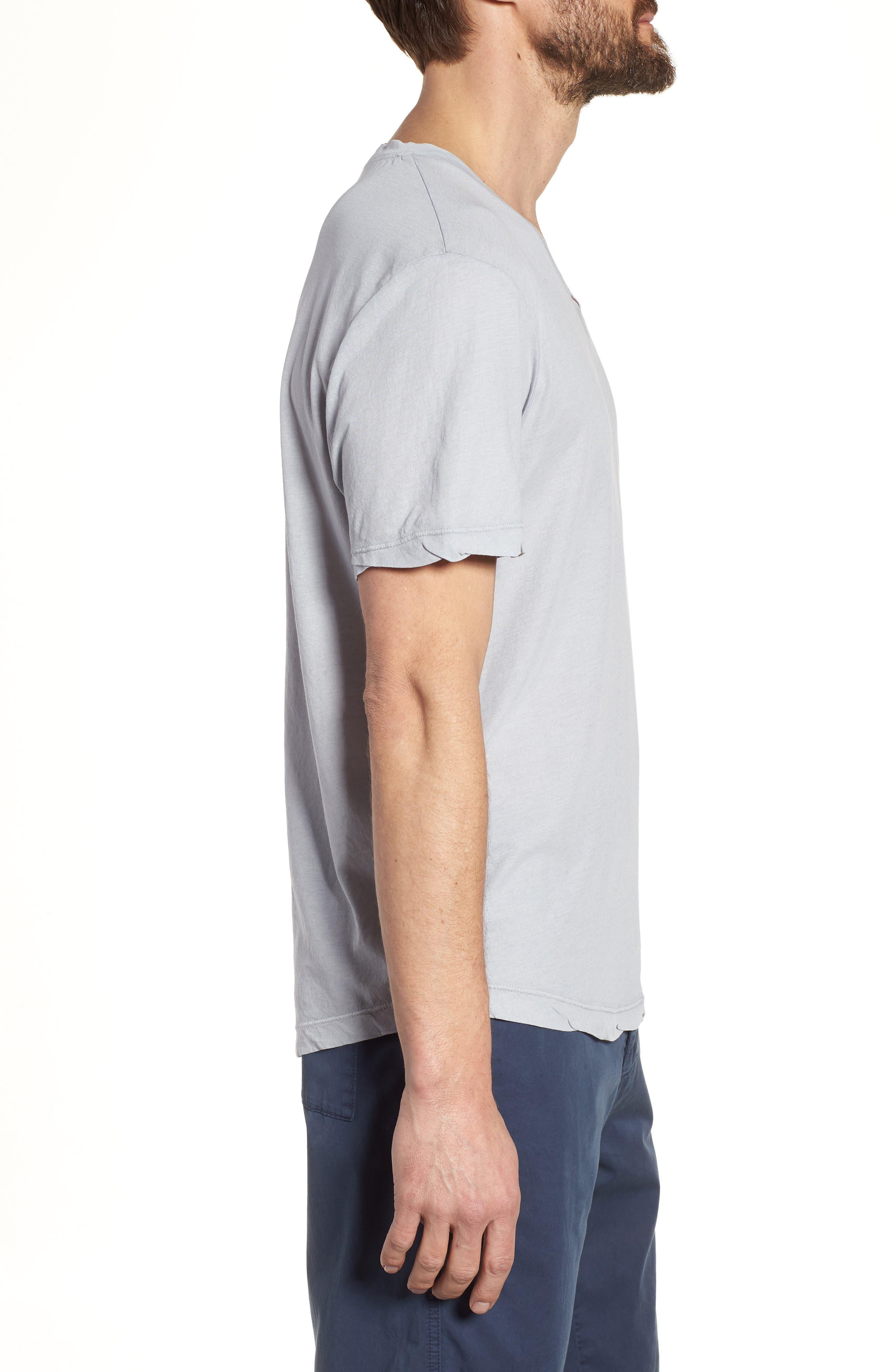 'Clear Jersey' Mélange V-Neck T-Shirt,                             Alternate thumbnail 3, color,                             Blue