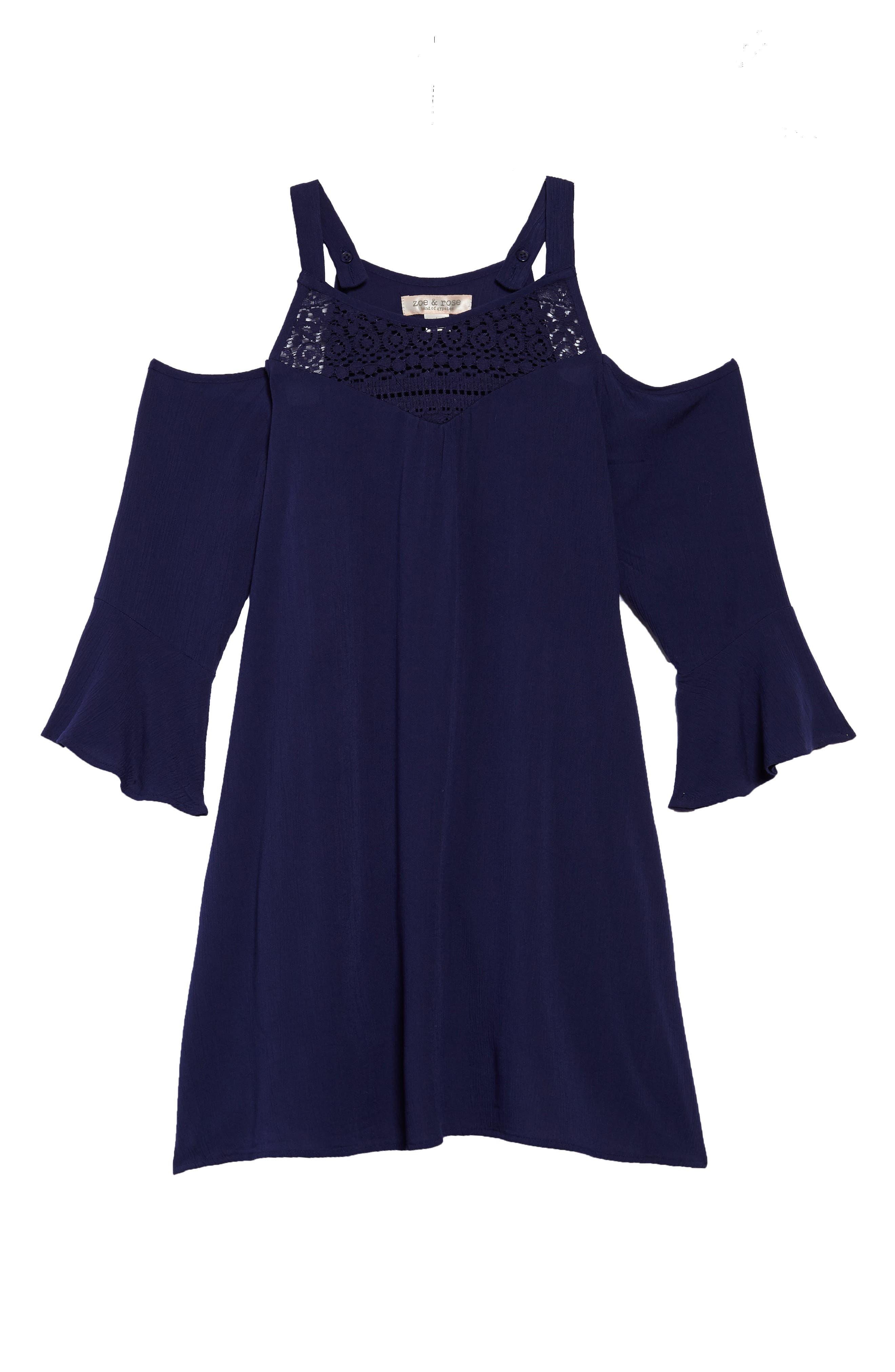 Cold Shoulder Shift Dress,                         Main,                         color, Navy
