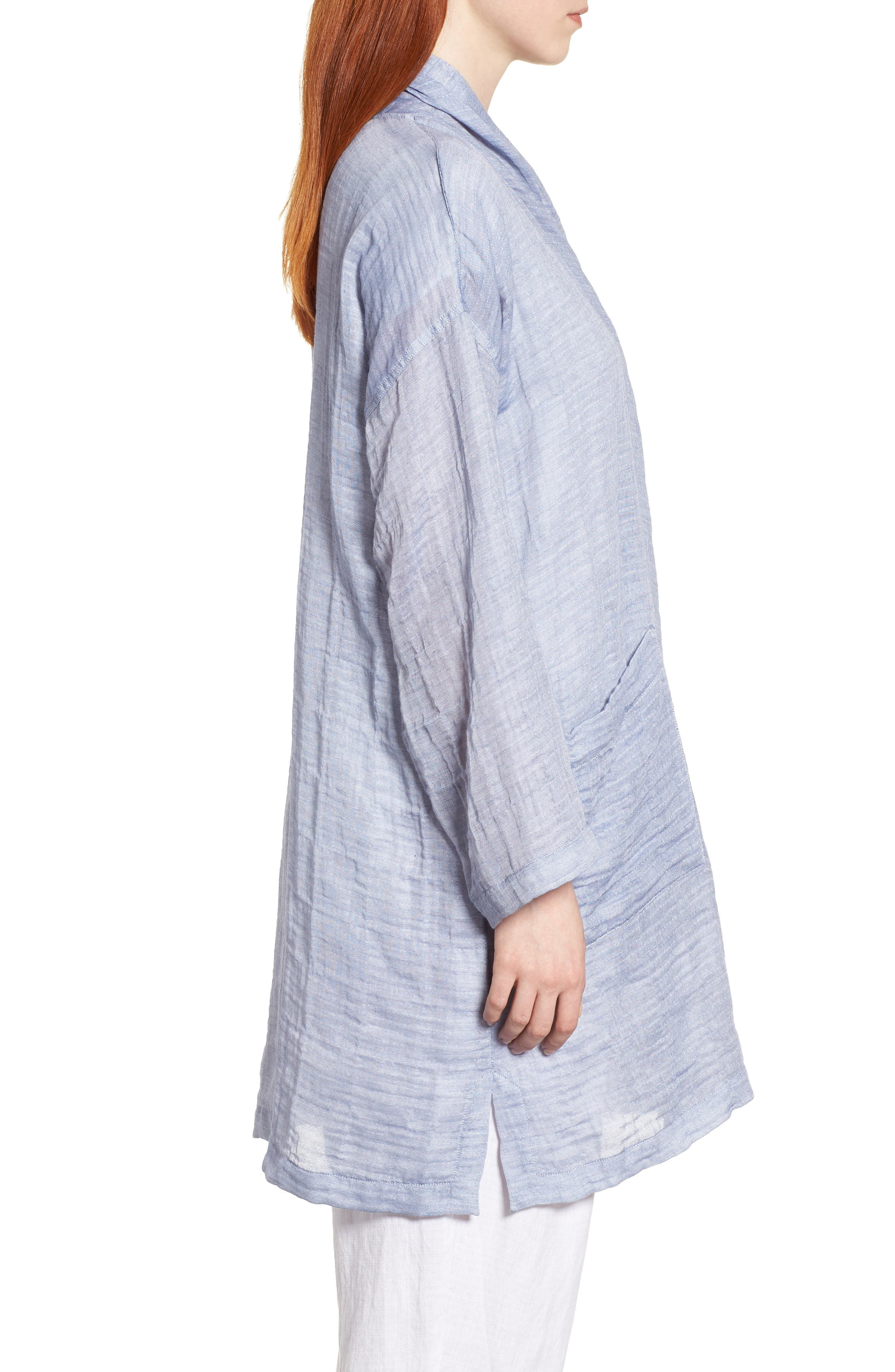 Linen Blend Kimono Jacket,                             Alternate thumbnail 3, color,                             Chambray