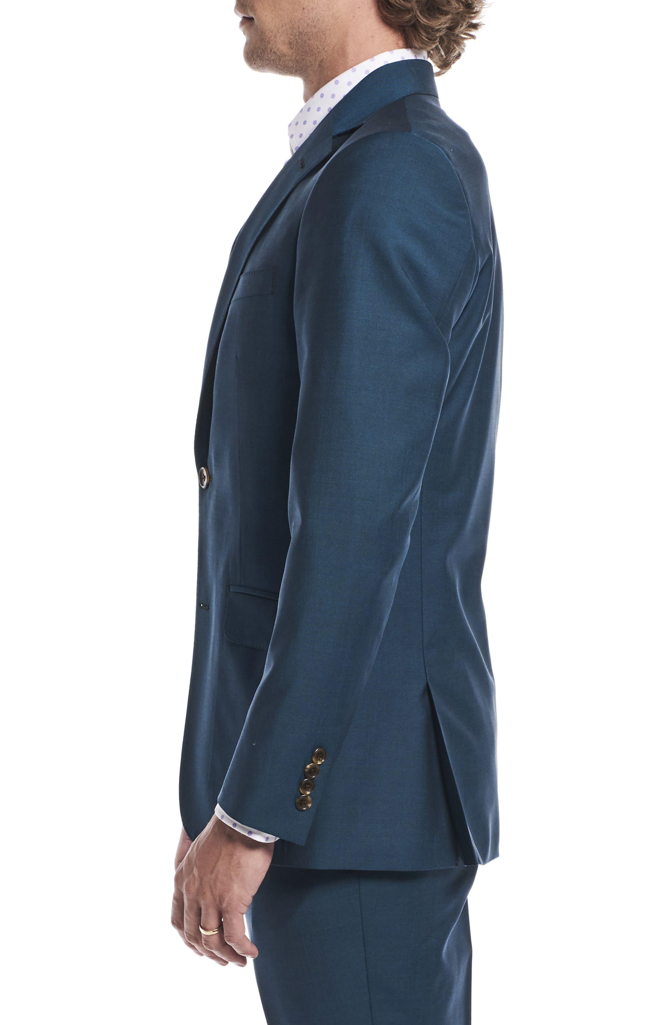 by Ilaria Urbinati Kilgore Slim Fit Solid Wool & Mohair Suit,                             Alternate thumbnail 5, color,                             Blue Teal