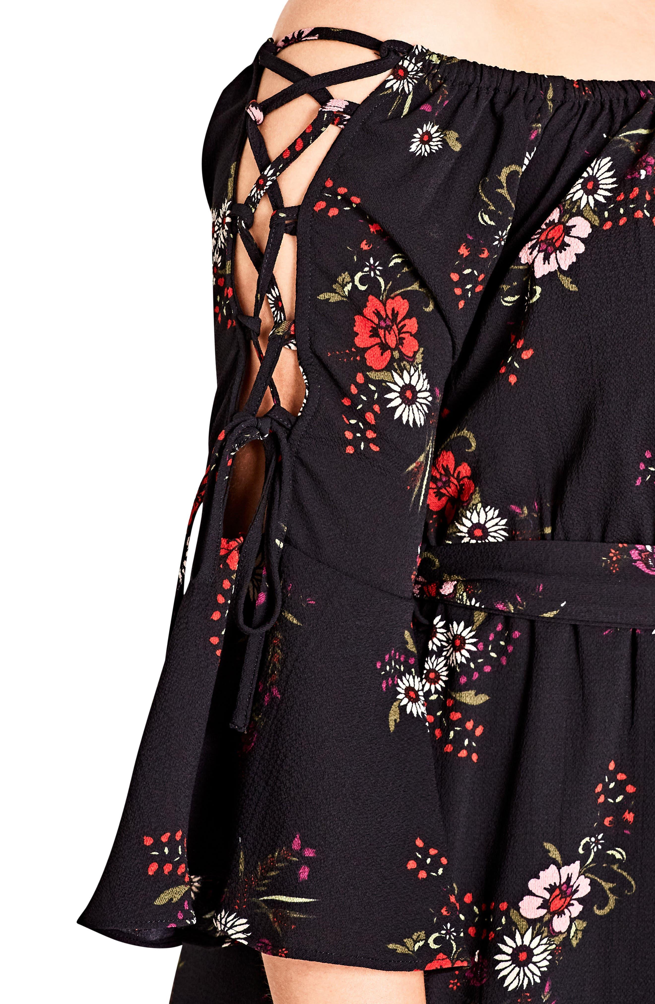 Off the Shoulder Midi Dress,                             Alternate thumbnail 3, color,                             Skye Floral