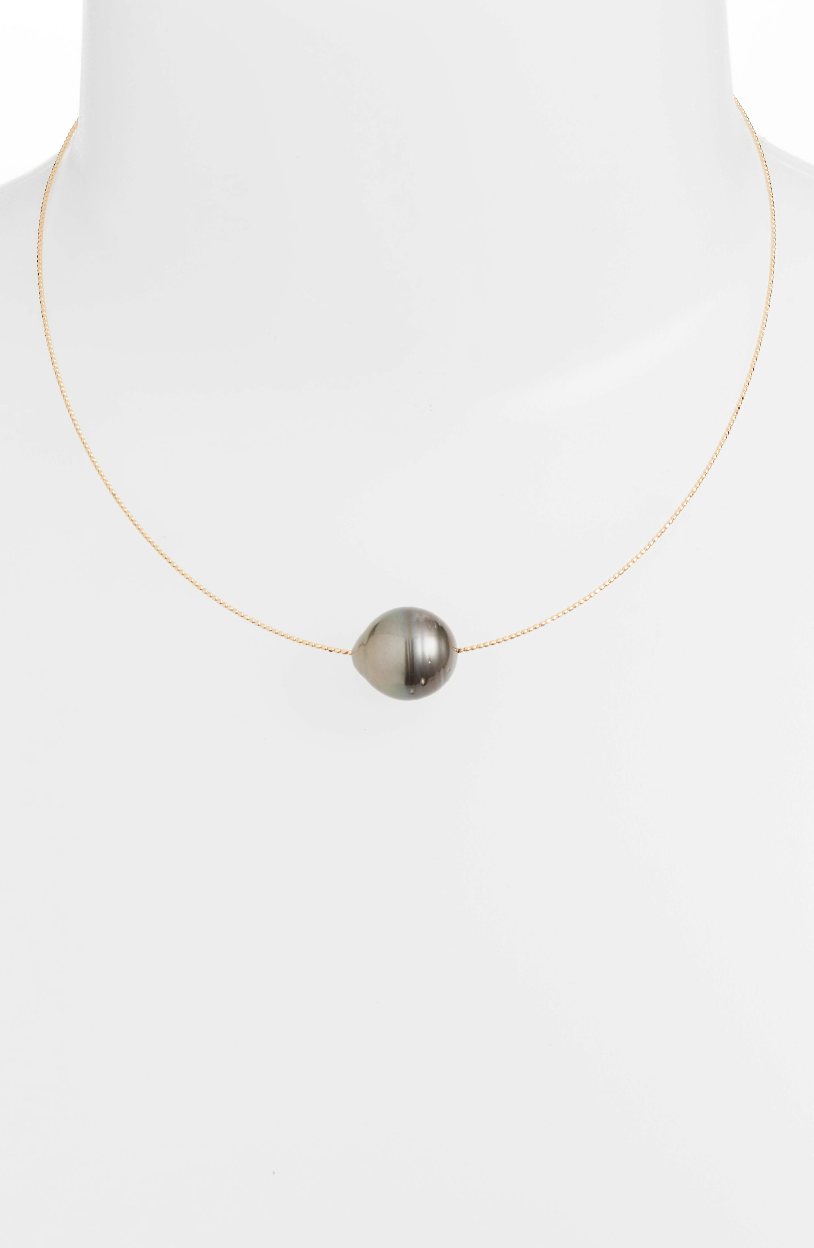 South Sea Collar Necklace with Genuine Pearl,                             Alternate thumbnail 2, color,                             Yellow Gold/ Black Pearl