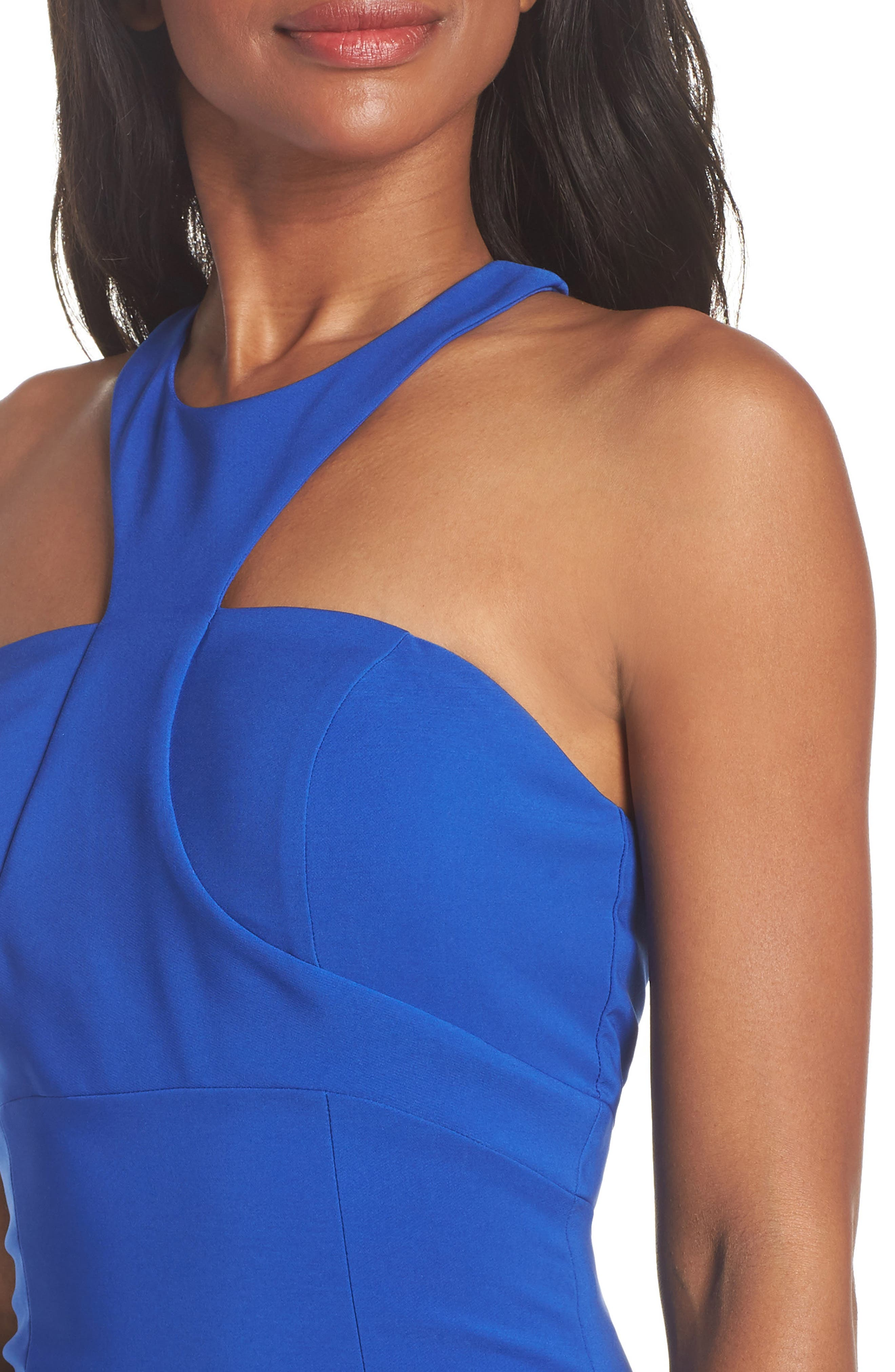 Ava Racer Column Gown,                             Alternate thumbnail 4, color,                             Cobalt