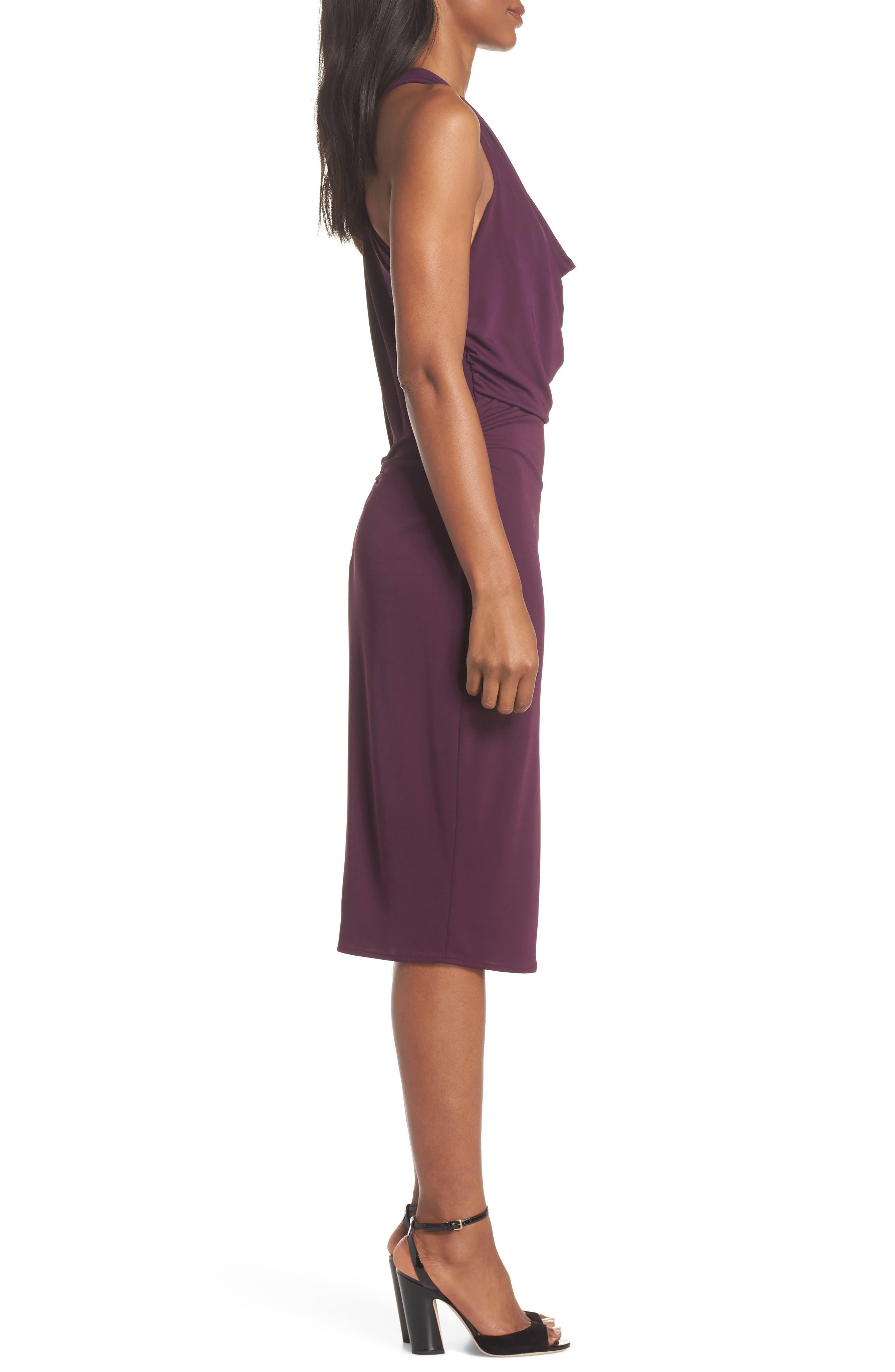 Elise Cowl Neck Sleeveless Dress,                             Alternate thumbnail 3, color,                             Wine