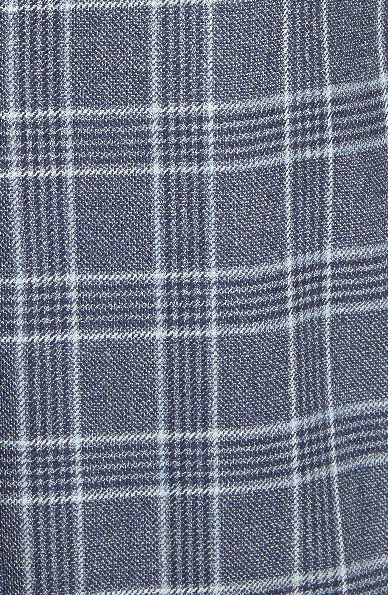 G Line Trim Fit Plaid Silk & Wool Sport Coat,                             Alternate thumbnail 5, color,                             Blue