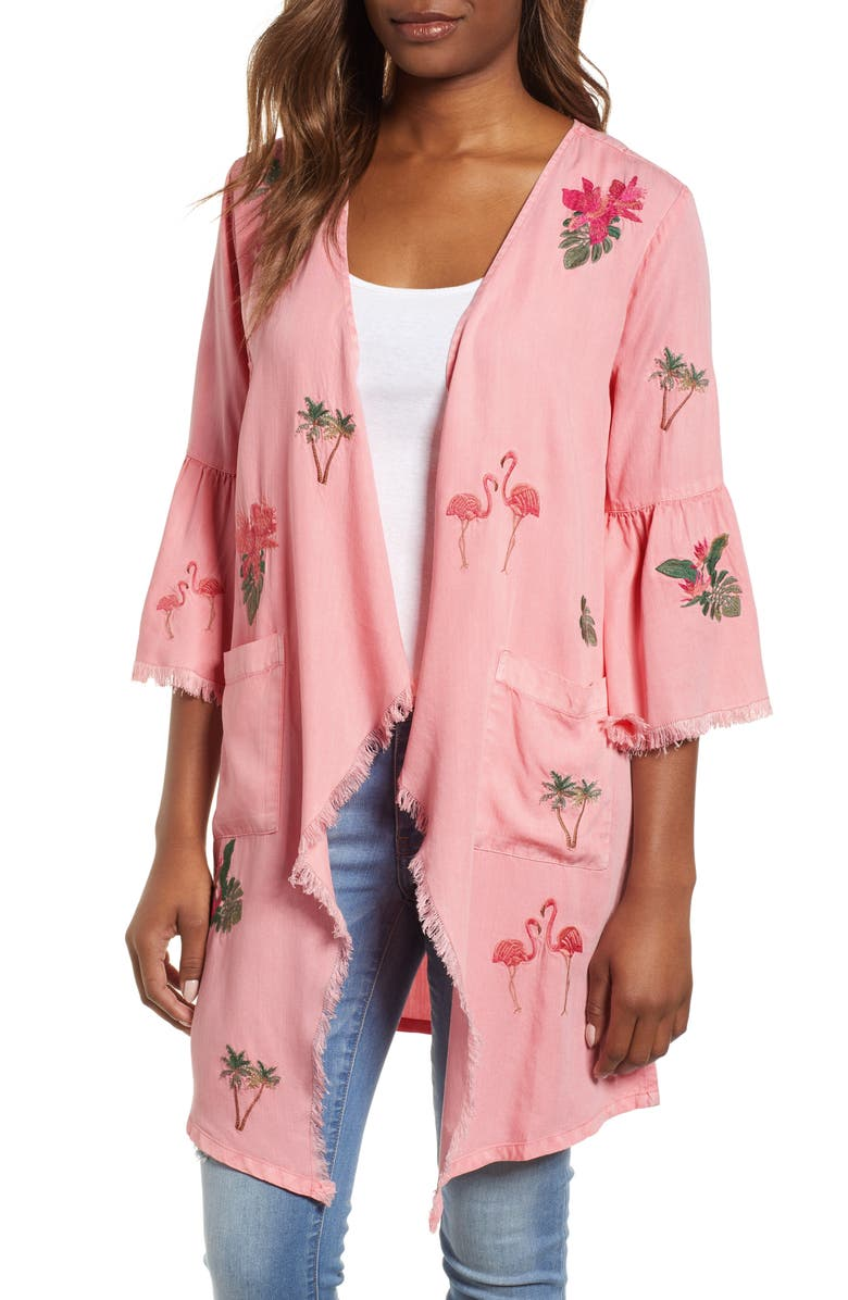 Billy T FLAMINGO EMBROIDERED CHAMBRAY KIMONO