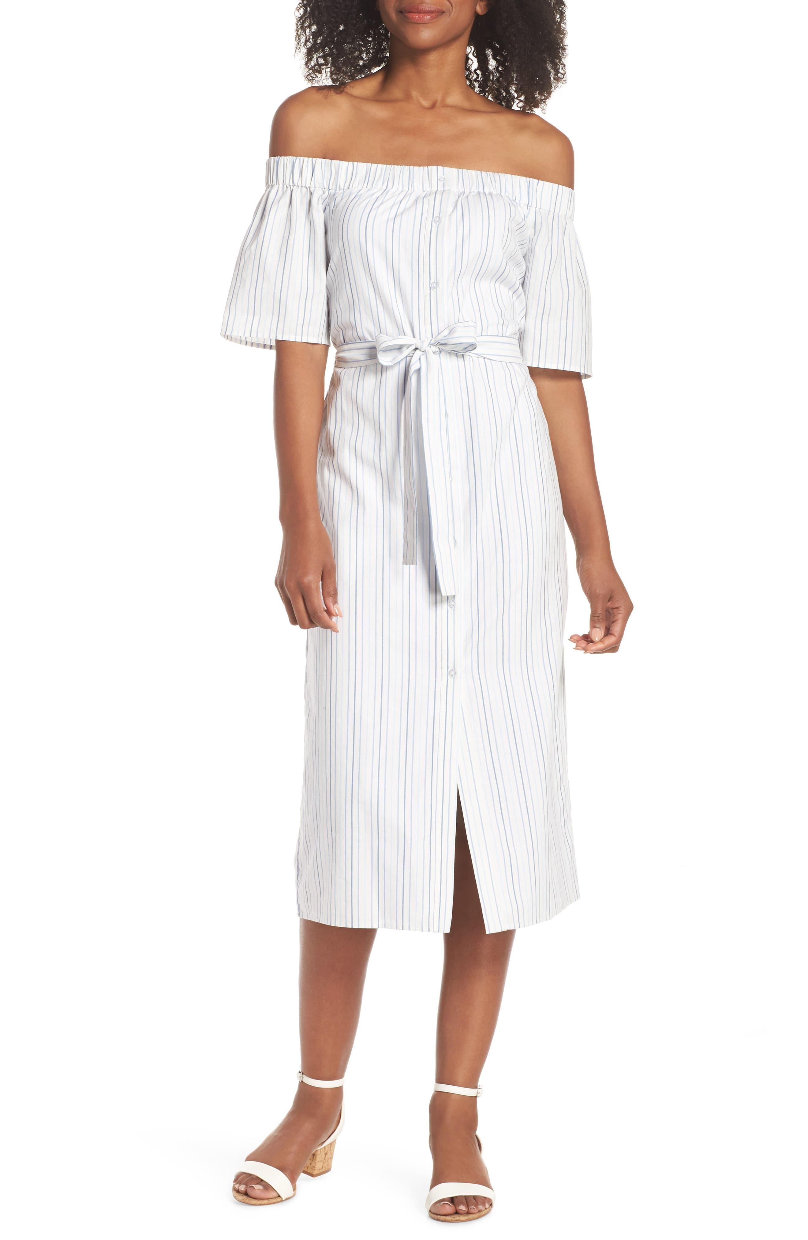 Charles Henry Off the Shoulder Cotton Midi Dress (Regular & Petite)