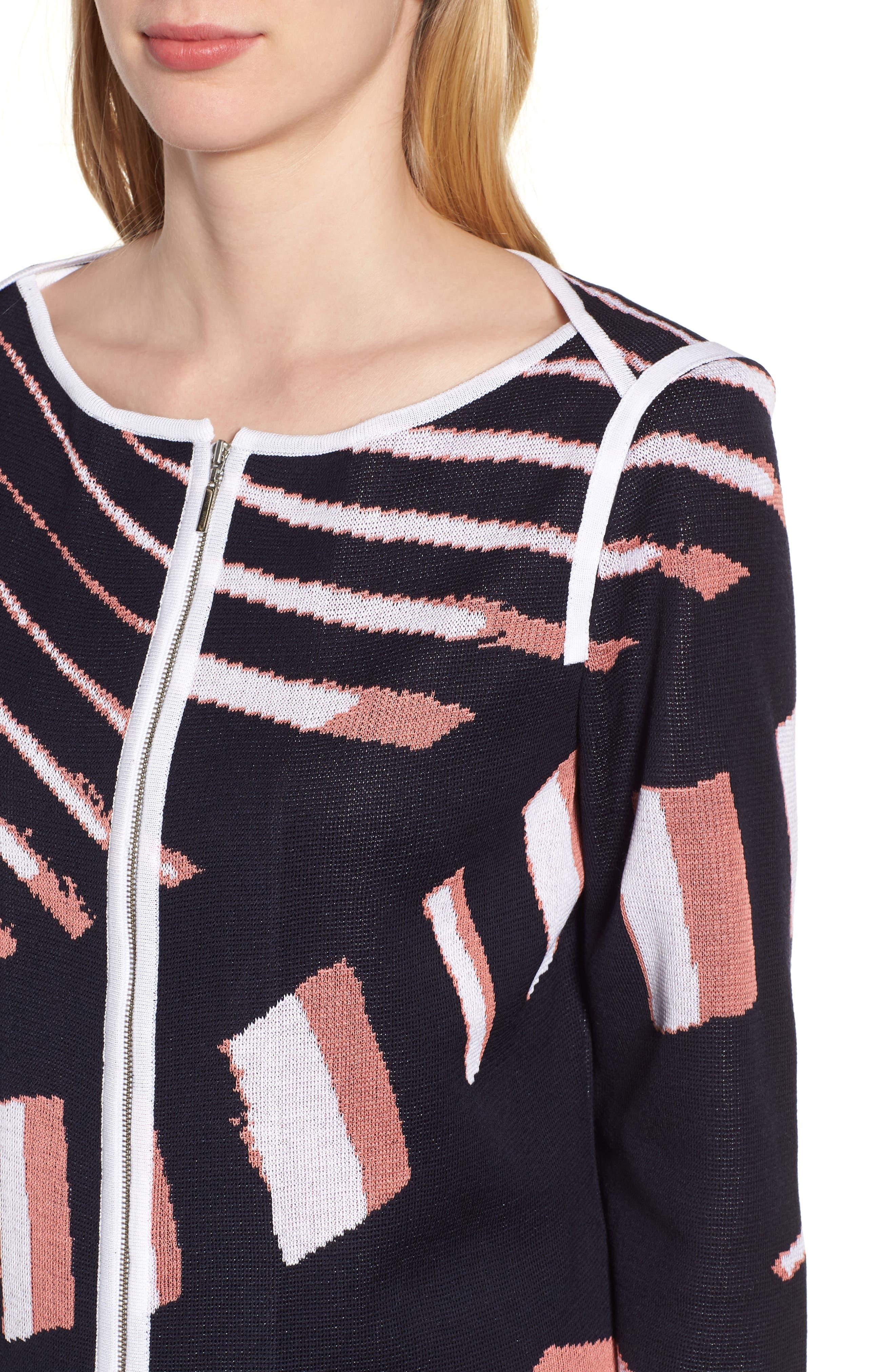 Zip Front Knit Jacket,                             Alternate thumbnail 4, color,                             Navy/ Daylily/ White