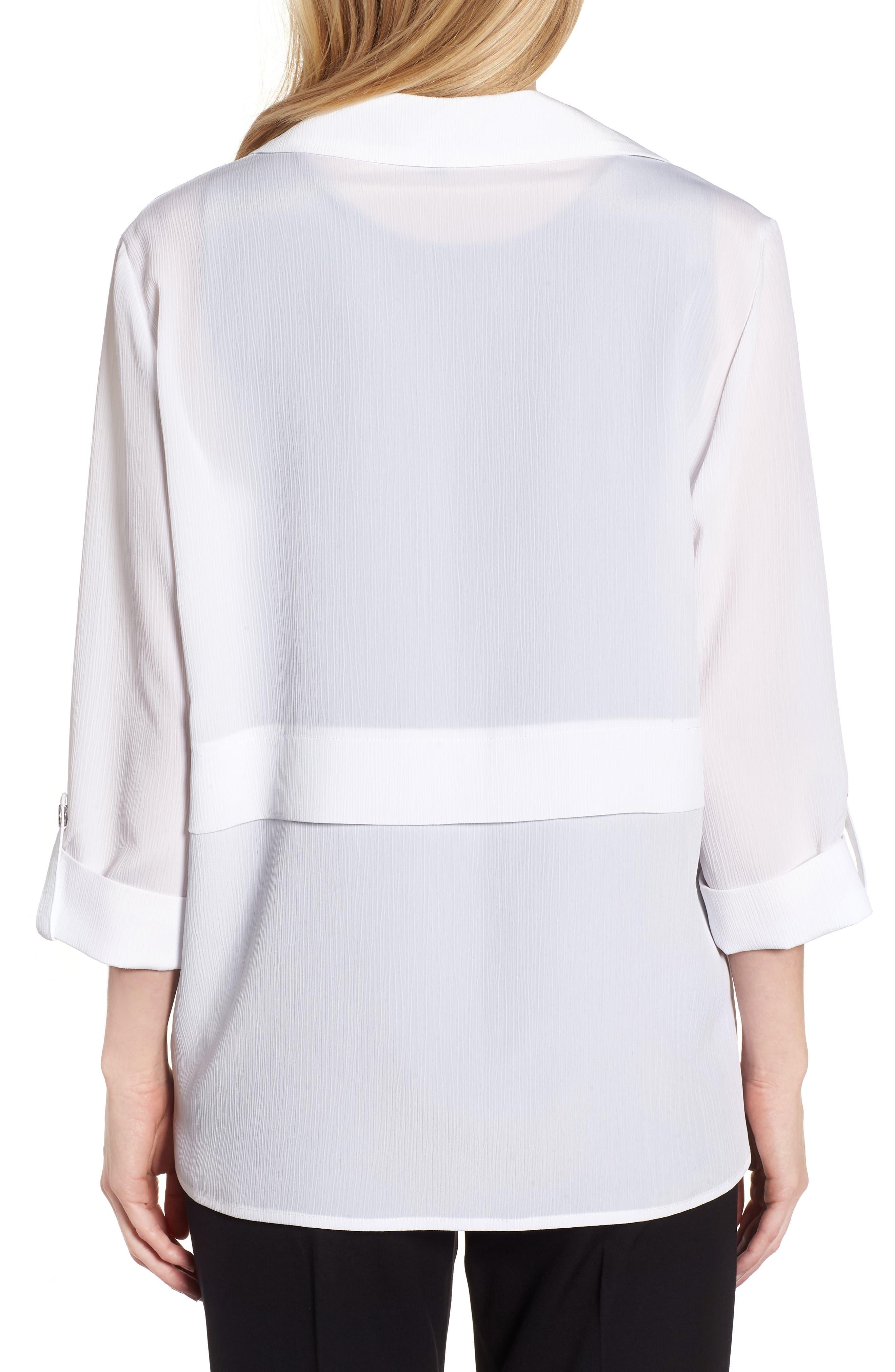 Gauzy Roll-Tab Sleeve Jacket,                             Alternate thumbnail 2, color,                             White