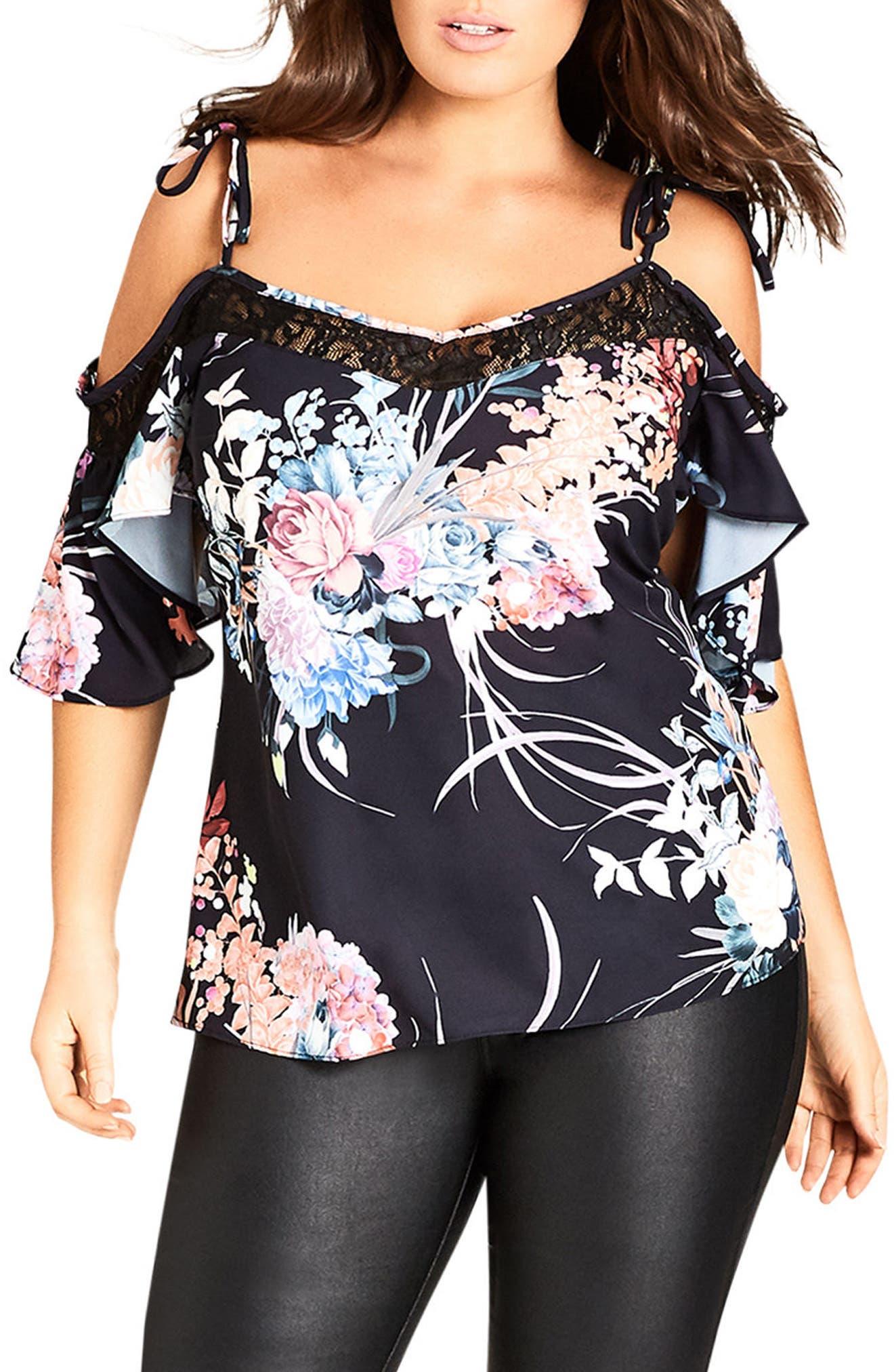 Main Image - City Chic Lace Flourish Cold Shoulder Top (Plus Size)
