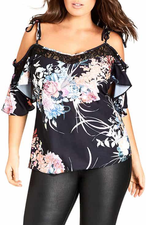ae825cd85df2c City Chic Lace Flourish Cold Shoulder Top (Plus Size)