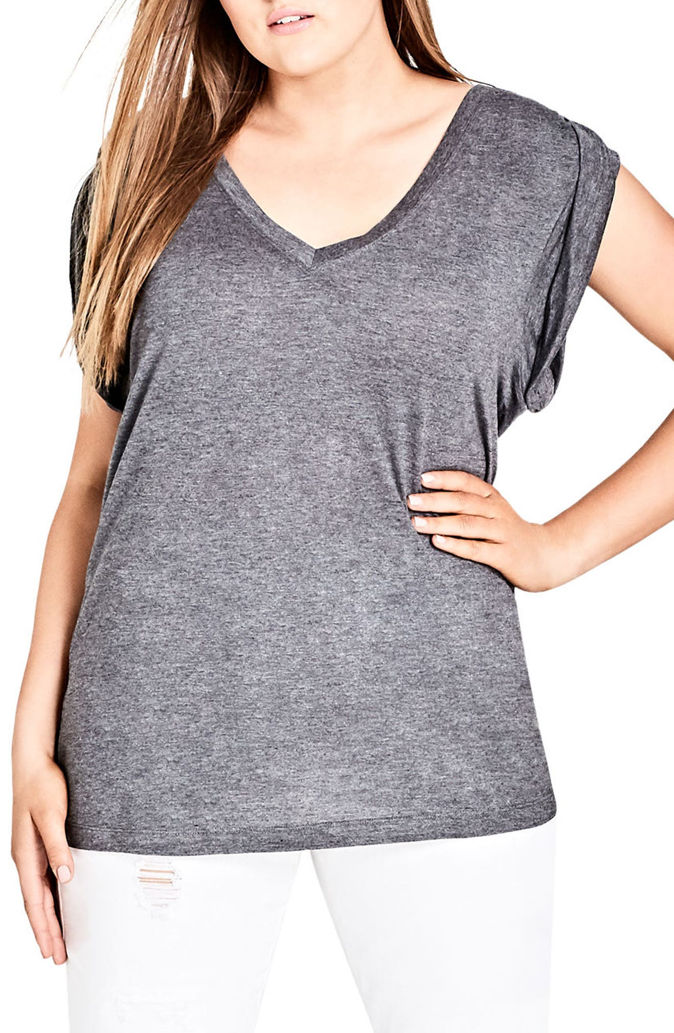 V-Neck Tee,                         Main,                         color, Charcoal