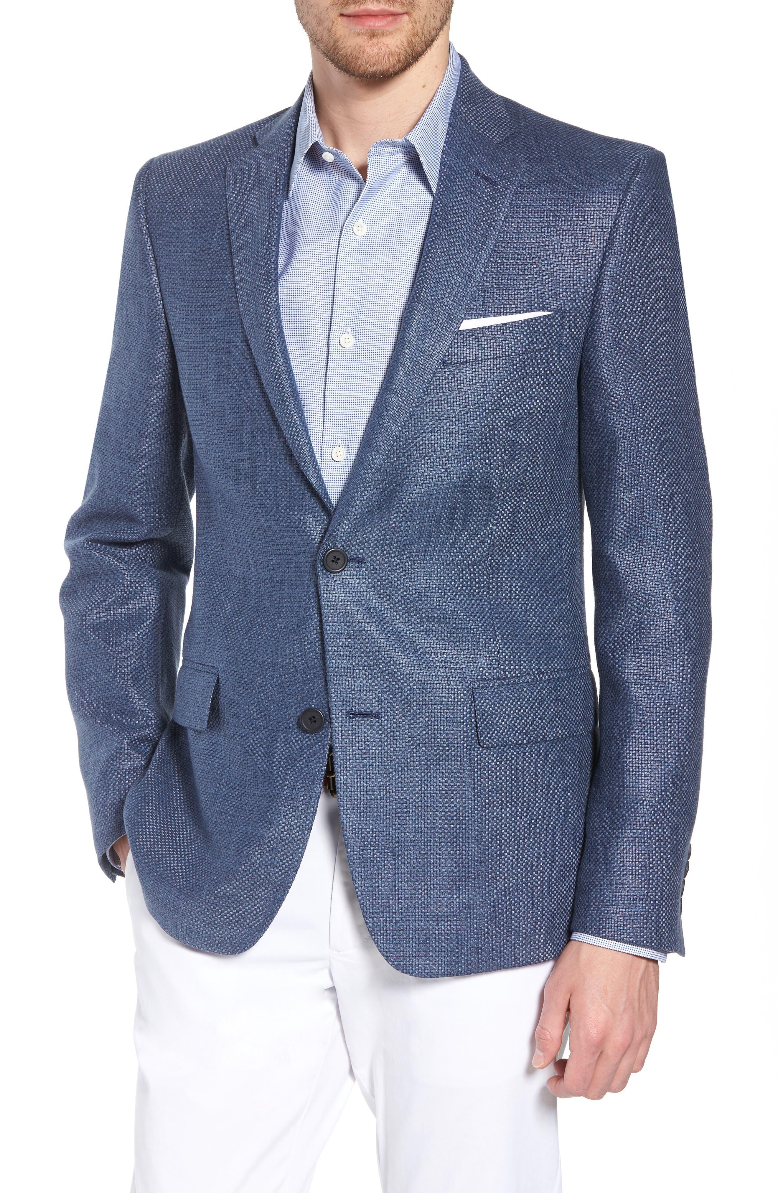 Trim Fit Wool & Linen Blazer,                             Main thumbnail 1, color,                             Blue