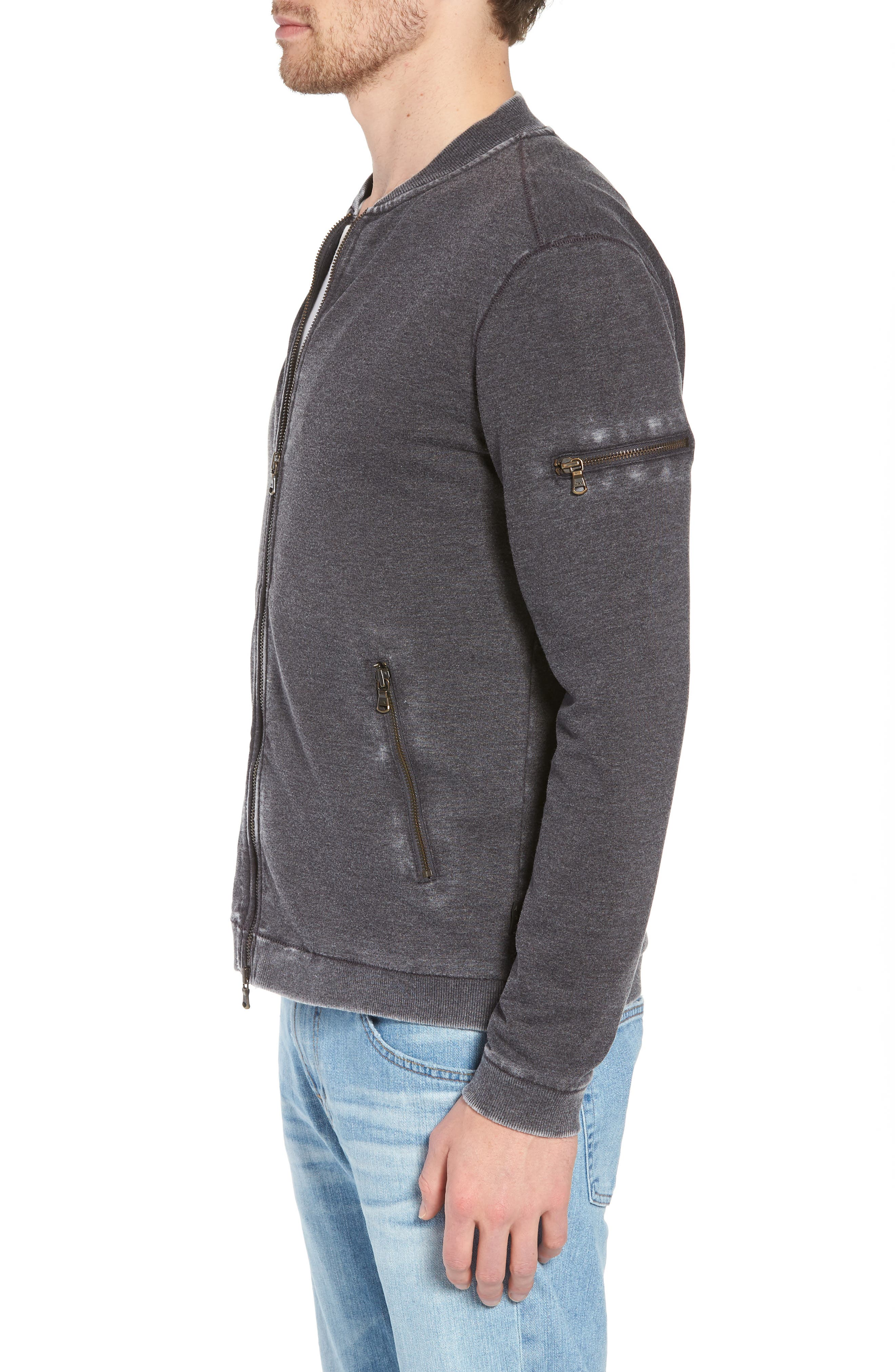 Burnout French Terry Zip Sweater,                             Alternate thumbnail 3, color,                             Metal Grey