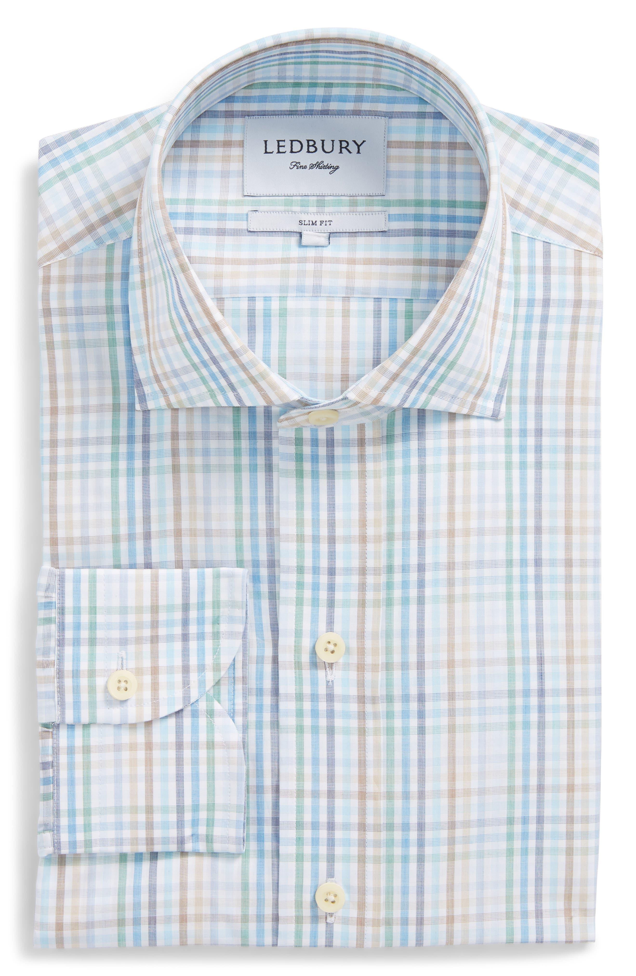 Albright Slim Fit Check Dress Shirt,                             Alternate thumbnail 6, color,                             Hunter