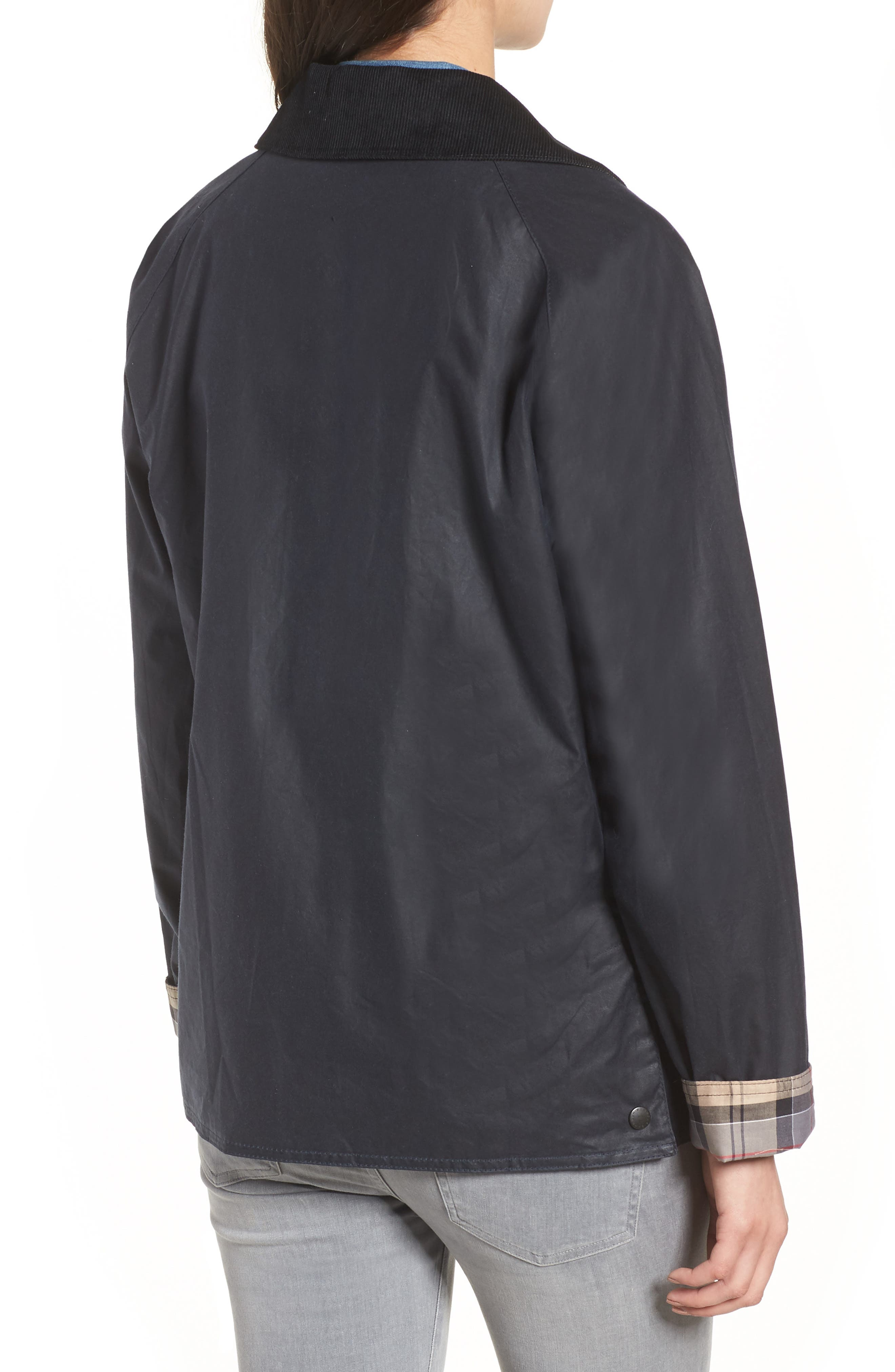 Acorn Water Resistant Waxed Cotton Jacket,                             Alternate thumbnail 3, color,                             Royal Navy