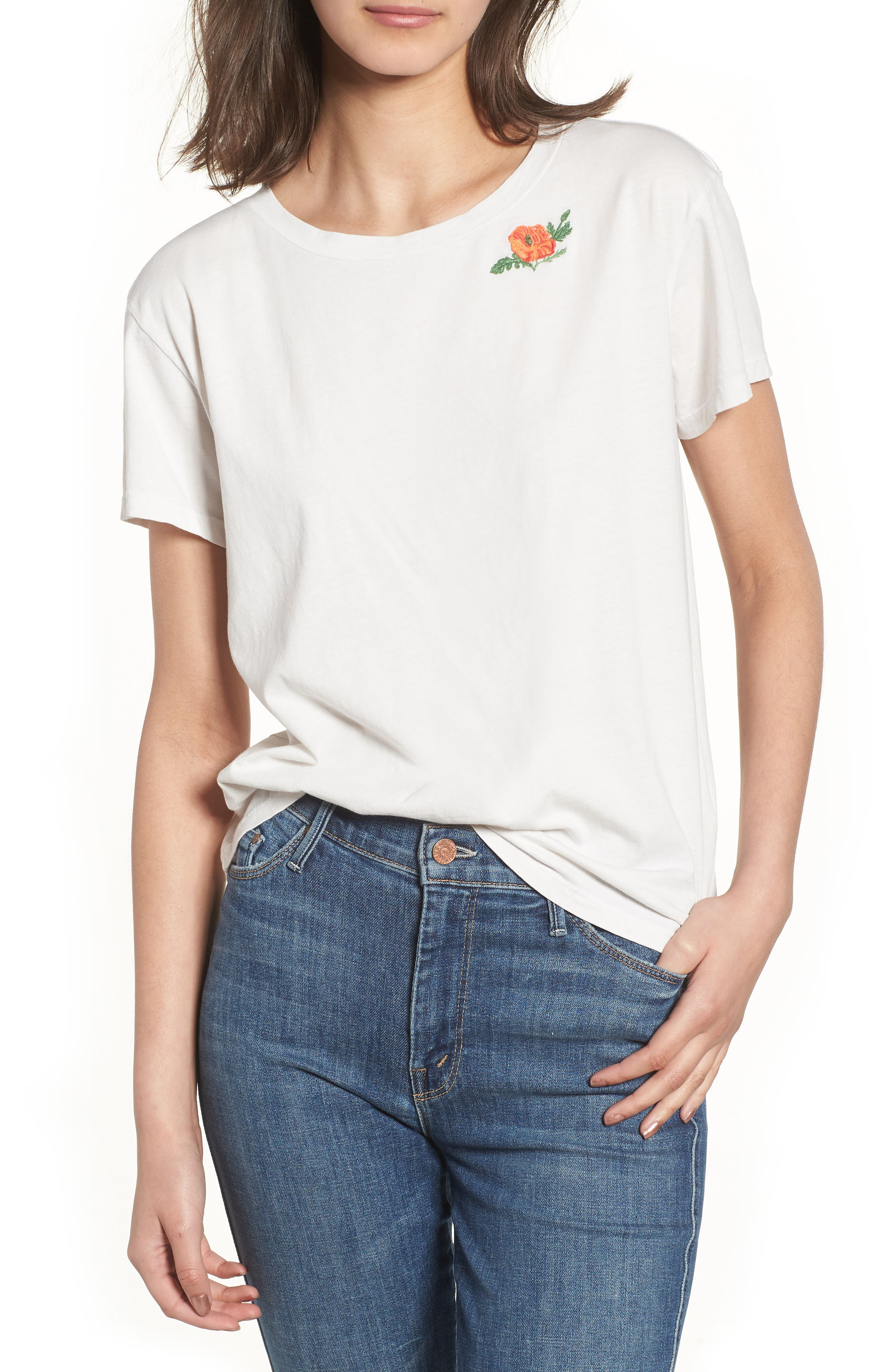 The Boxy Goodie Goodie Supima<sup>®</sup> Cotton Tee,                             Main thumbnail 1, color,                             Dirty White