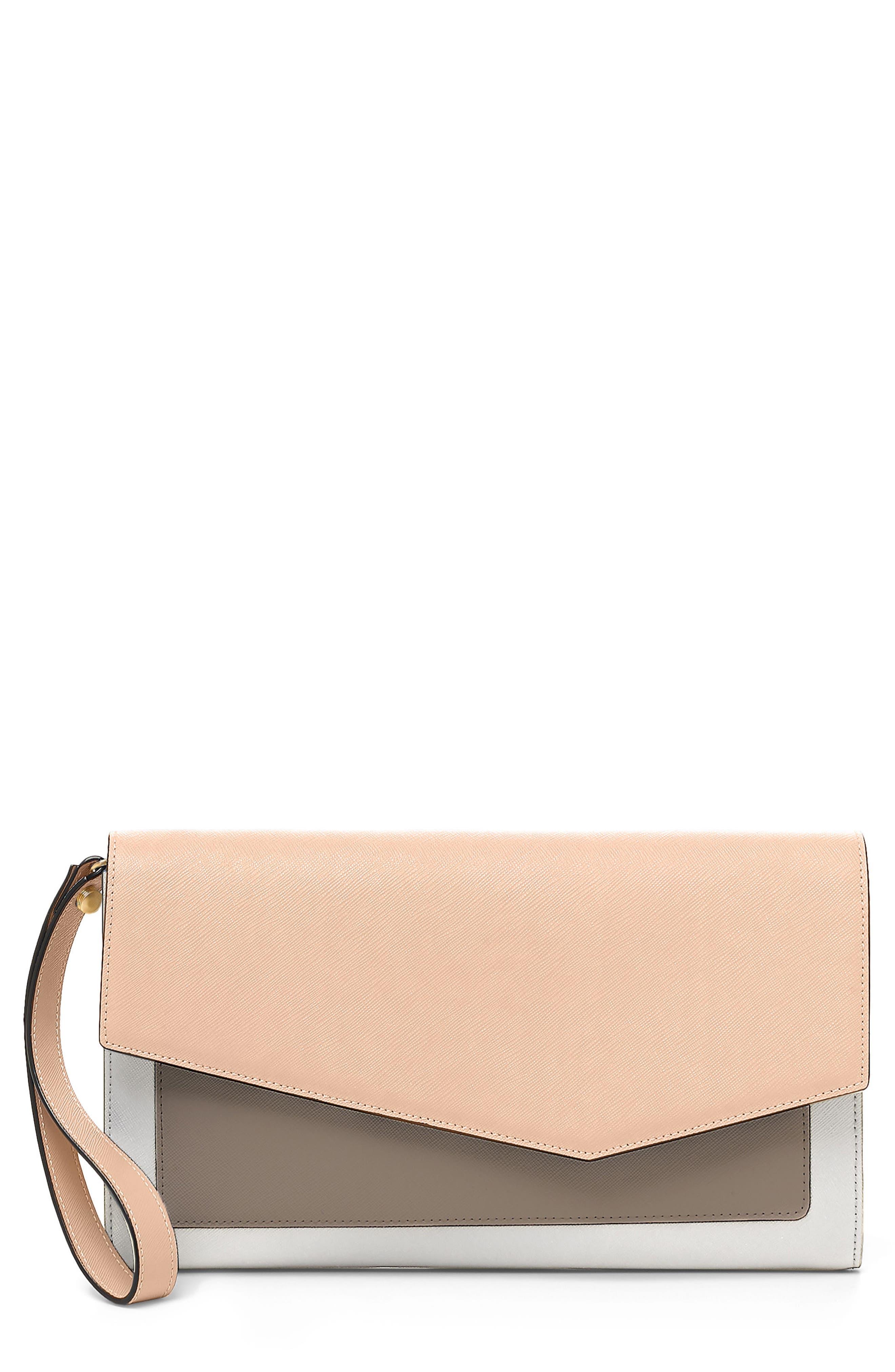 Cobble Hill Leather Wallet,                             Main thumbnail 1, color,                             Peach Colorblock